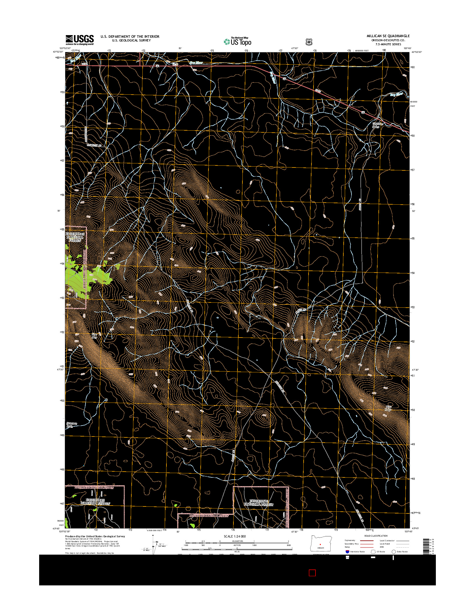 USGS US TOPO 7.5-MINUTE MAP FOR MILLICAN SE, OR 2014