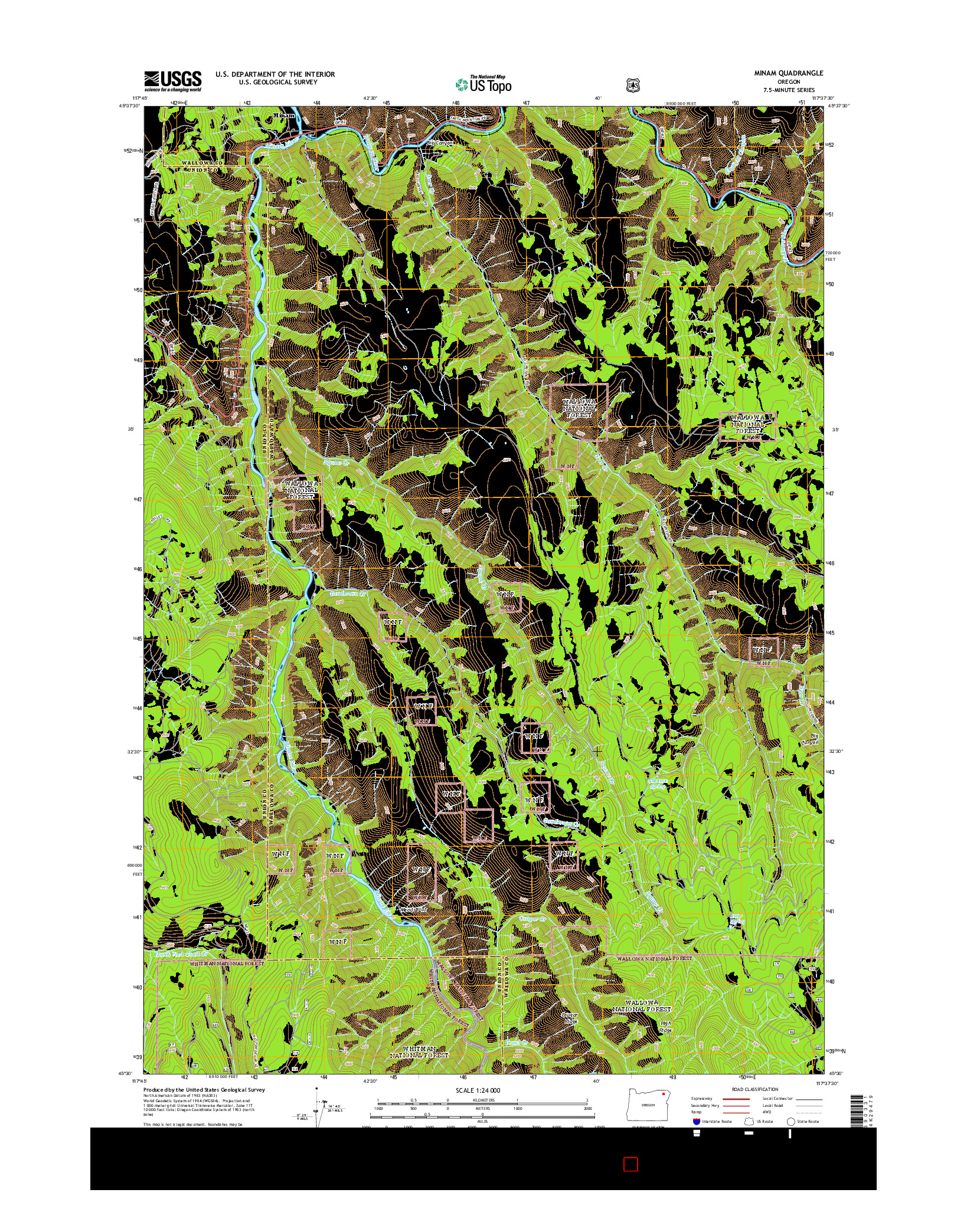 USGS US TOPO 7.5-MINUTE MAP FOR MINAM, OR 2014