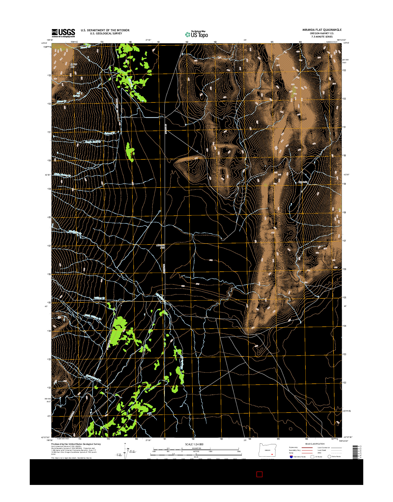 USGS US TOPO 7.5-MINUTE MAP FOR MIRANDA FLAT, OR 2014