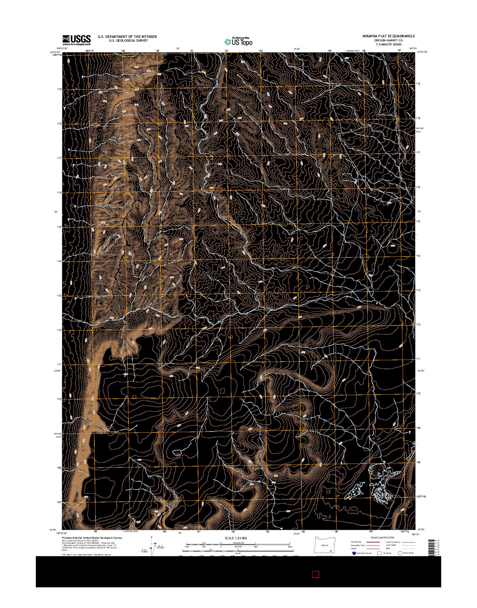 USGS US TOPO 7.5-MINUTE MAP FOR MIRANDA FLAT SE, OR 2014