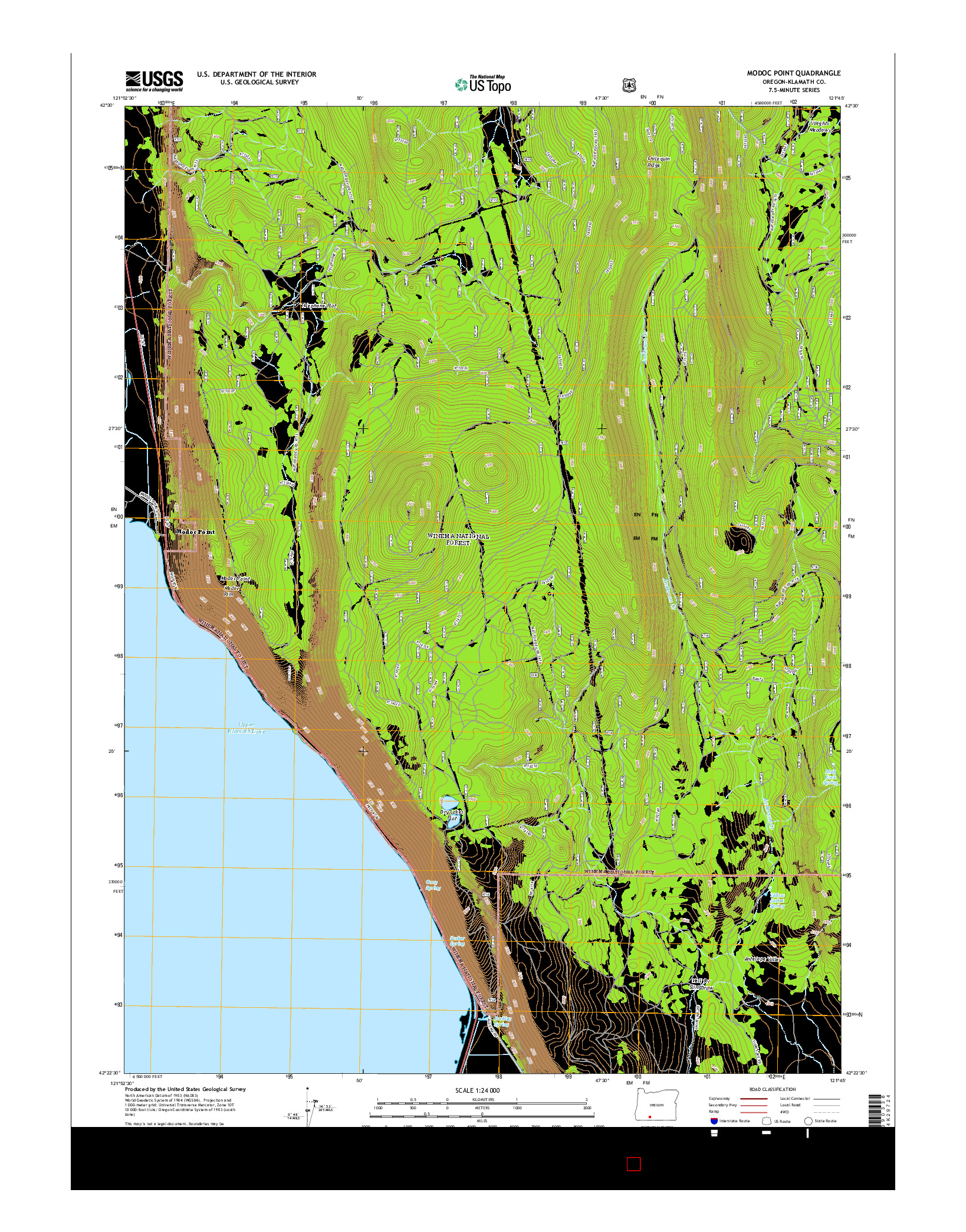 USGS US TOPO 7.5-MINUTE MAP FOR MODOC POINT, OR 2014
