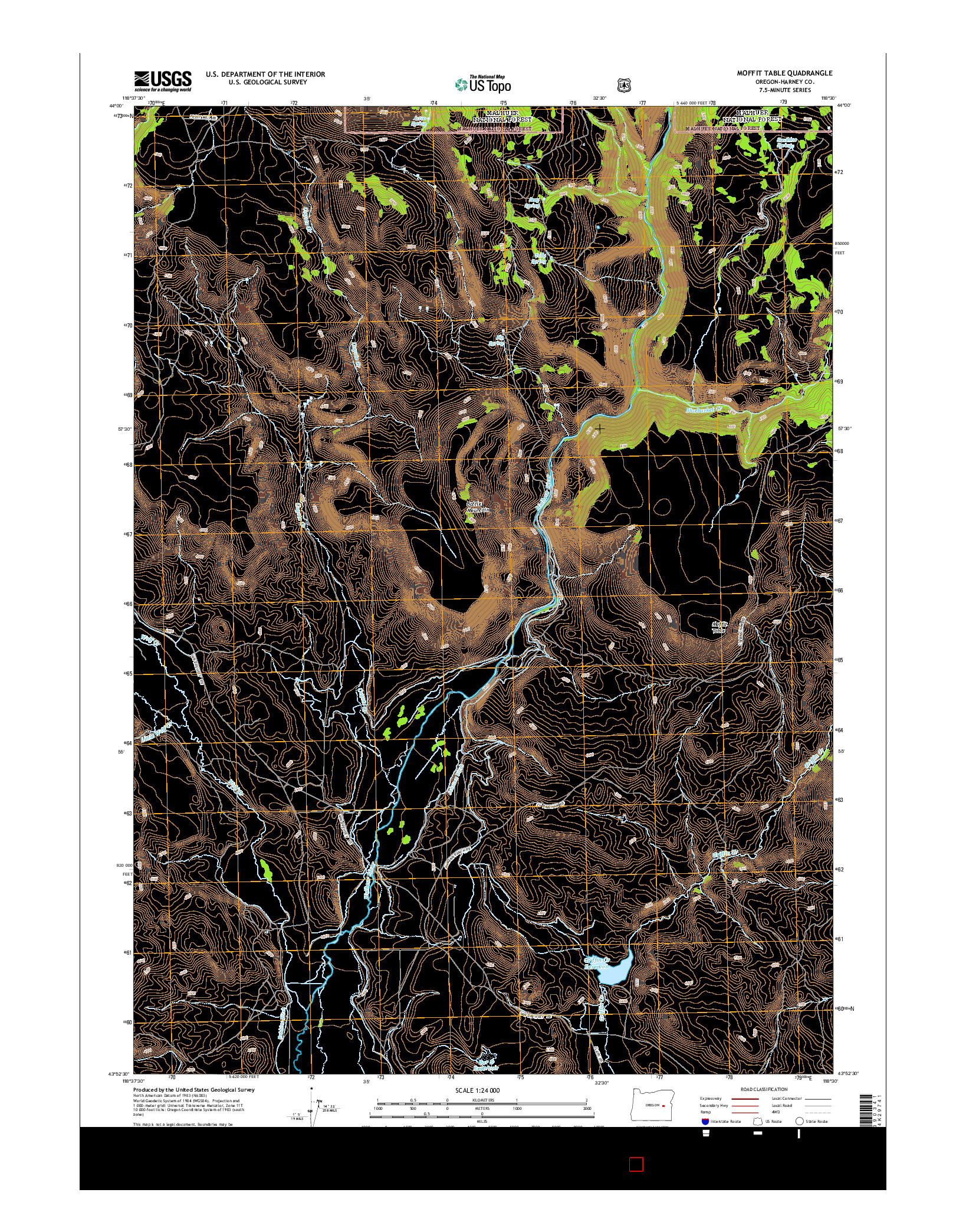 USGS US TOPO 7.5-MINUTE MAP FOR MOFFIT TABLE, OR 2014