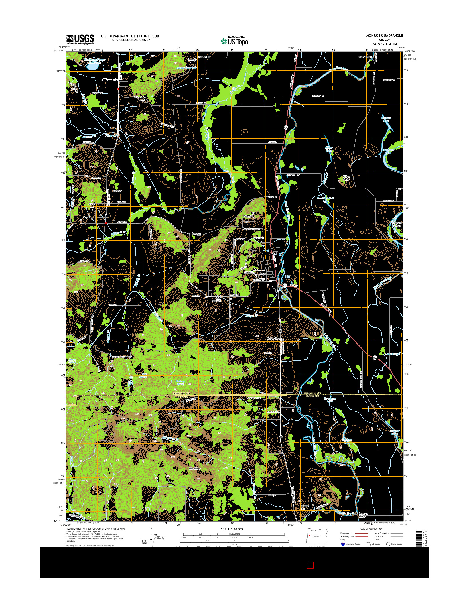 USGS US TOPO 7.5-MINUTE MAP FOR MONROE, OR 2014