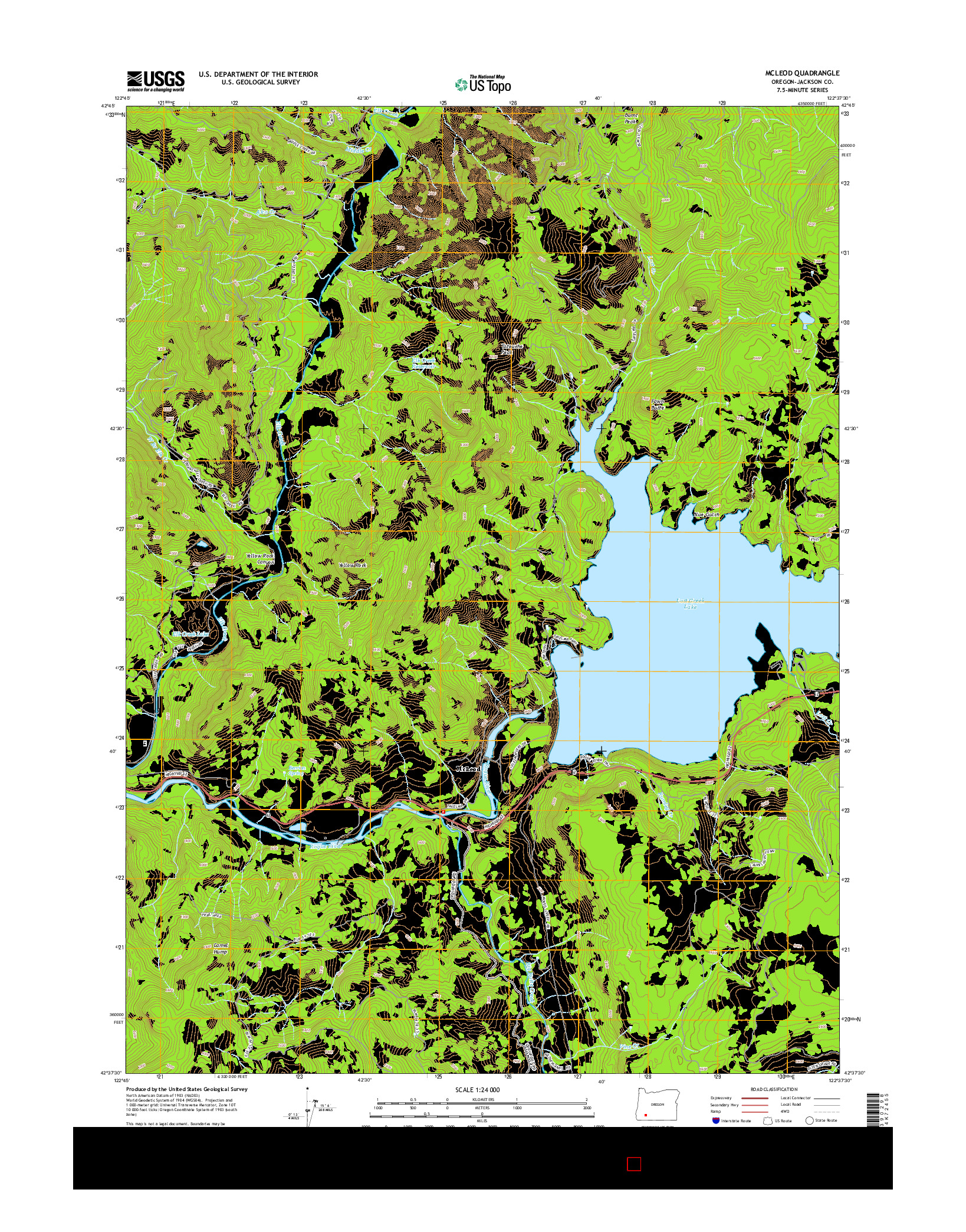 USGS US TOPO 7.5-MINUTE MAP FOR MCLEOD, OR 2014