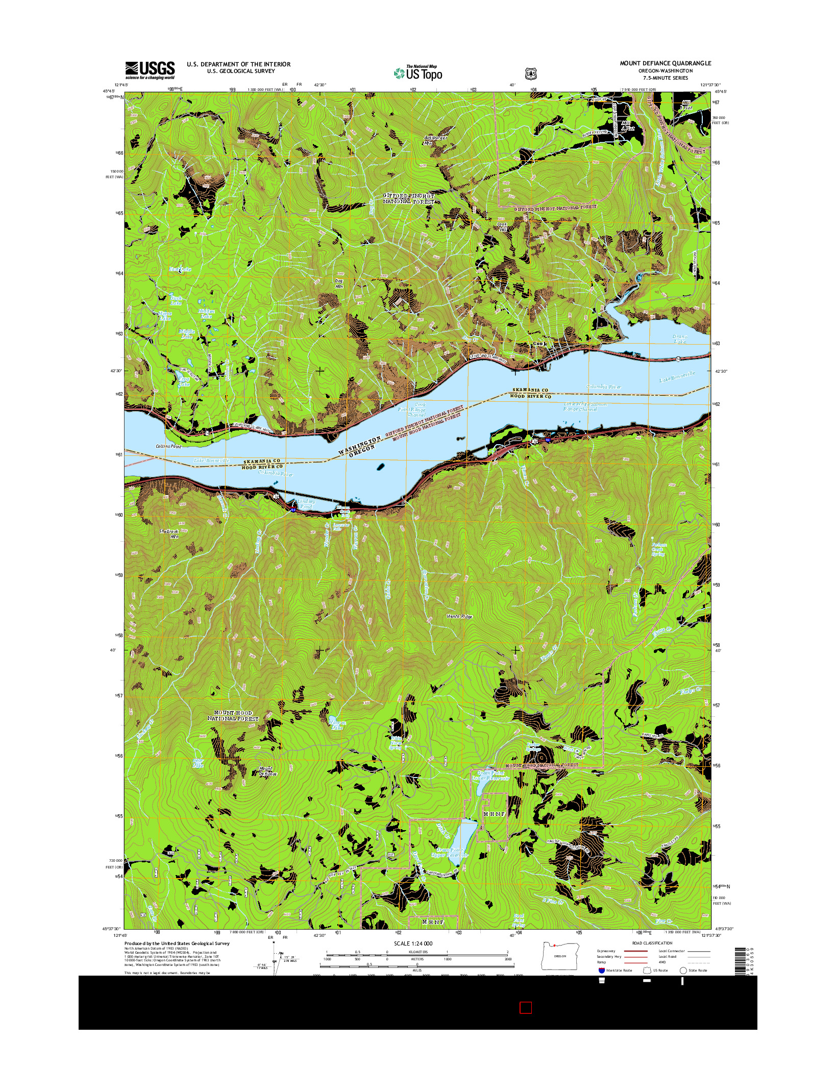 USGS US TOPO 7.5-MINUTE MAP FOR MOUNT DEFIANCE, OR-WA 2014