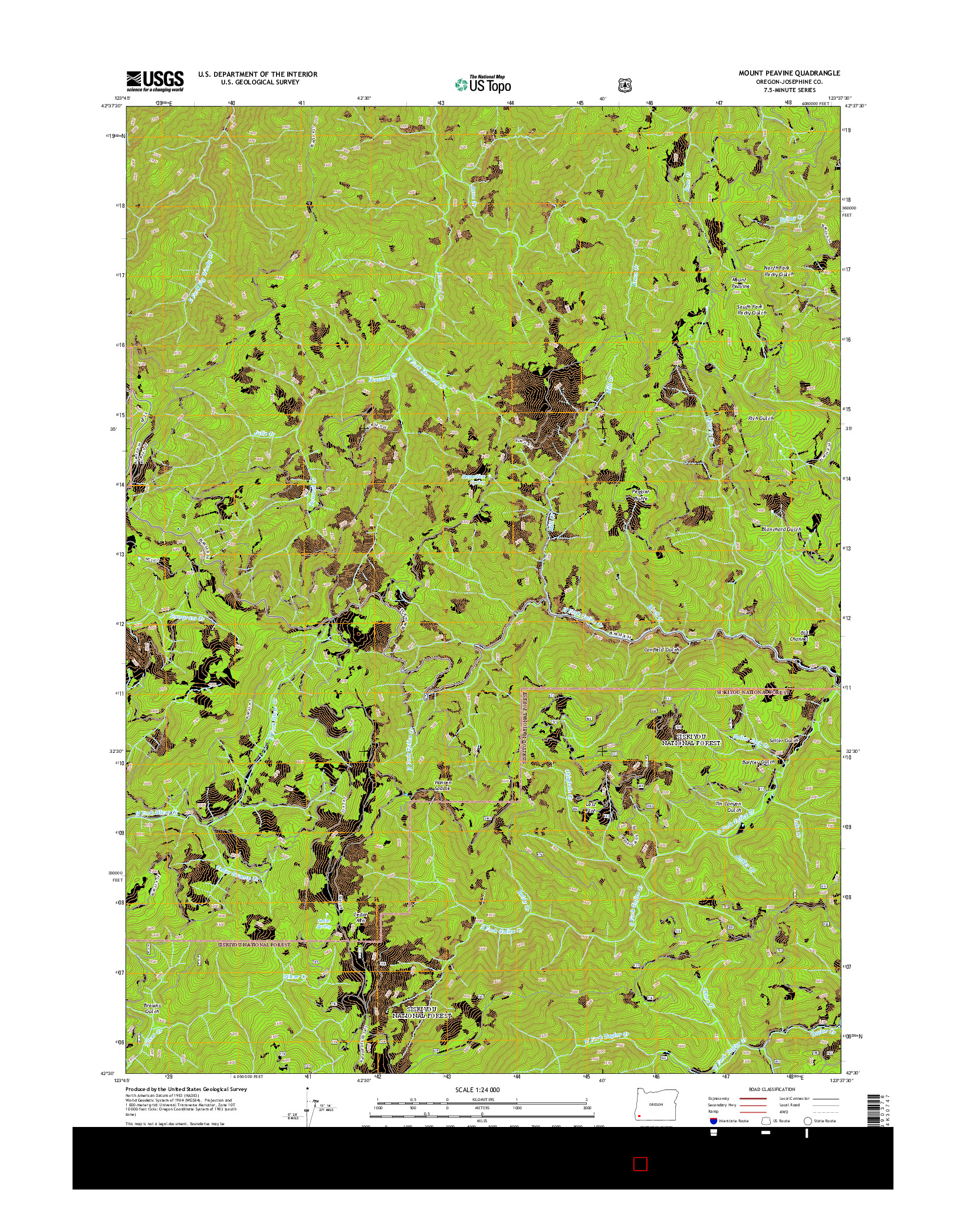 USGS US TOPO 7.5-MINUTE MAP FOR MOUNT PEAVINE, OR 2014