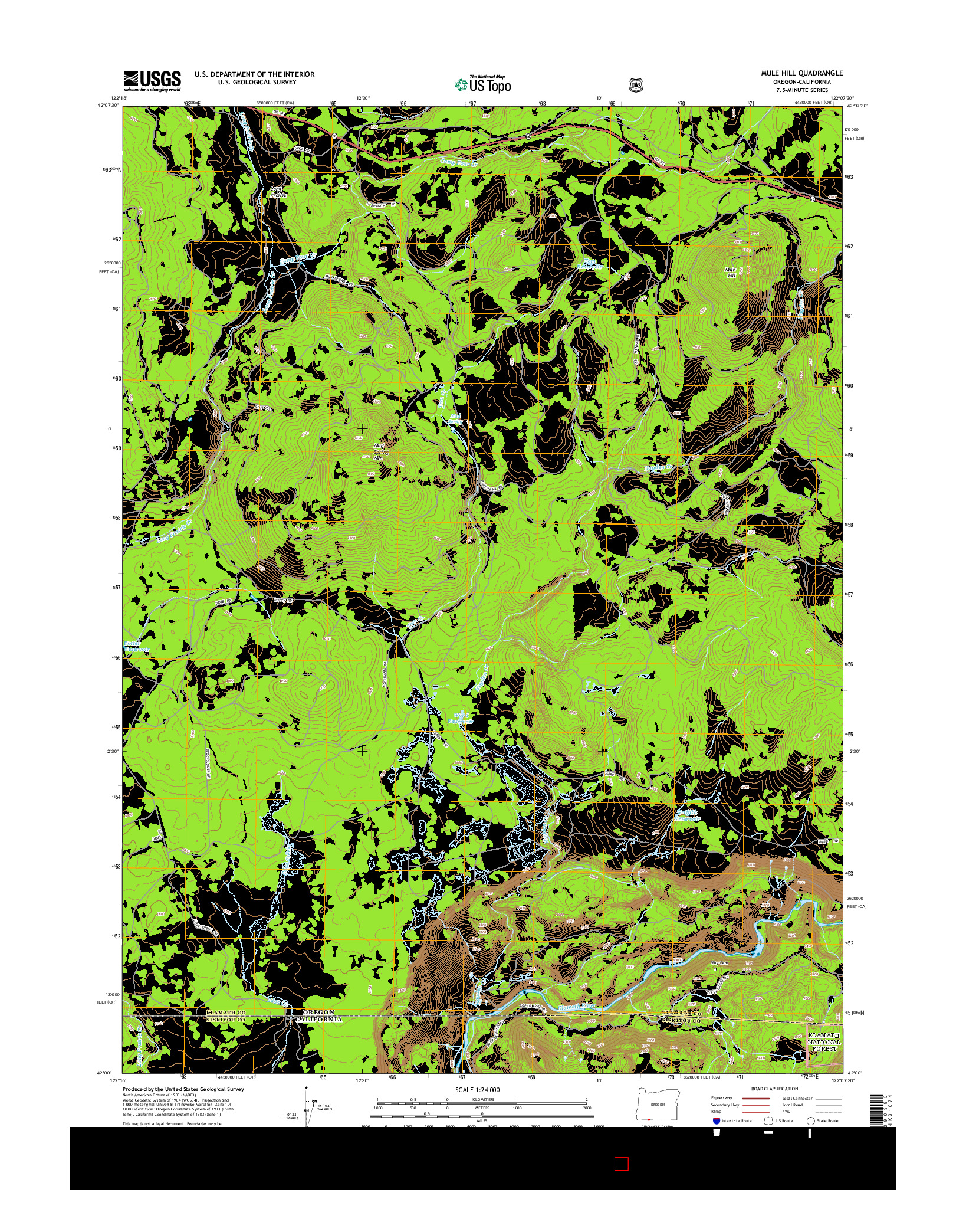 USGS US TOPO 7.5-MINUTE MAP FOR MULE HILL, OR-CA 2014