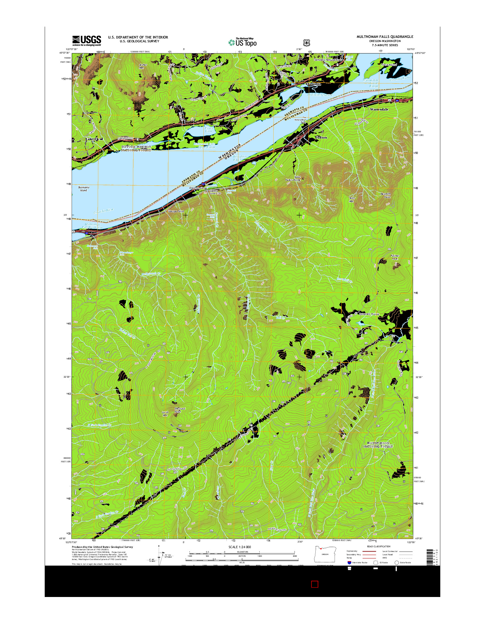 USGS US TOPO 7.5-MINUTE MAP FOR MULTNOMAH FALLS, OR-WA 2014