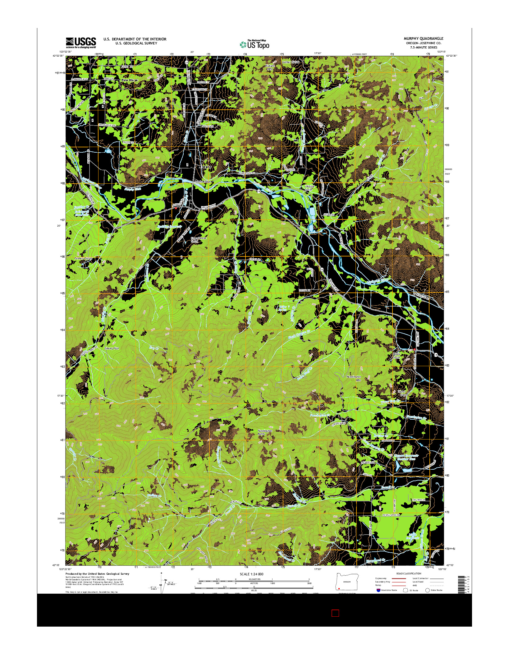 USGS US TOPO 7.5-MINUTE MAP FOR MURPHY, OR 2014