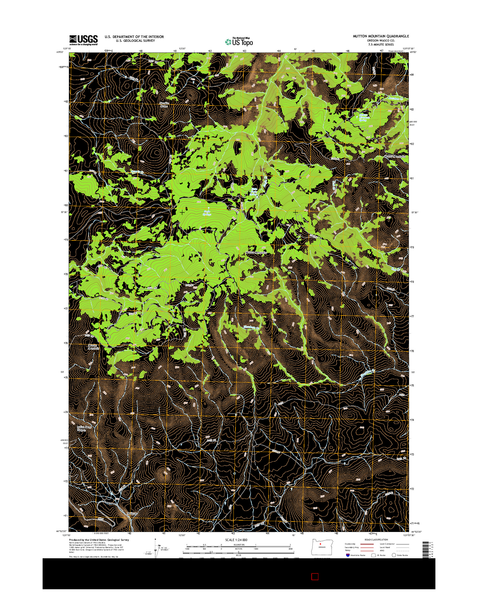 USGS US TOPO 7.5-MINUTE MAP FOR MUTTON MOUNTAIN, OR 2014