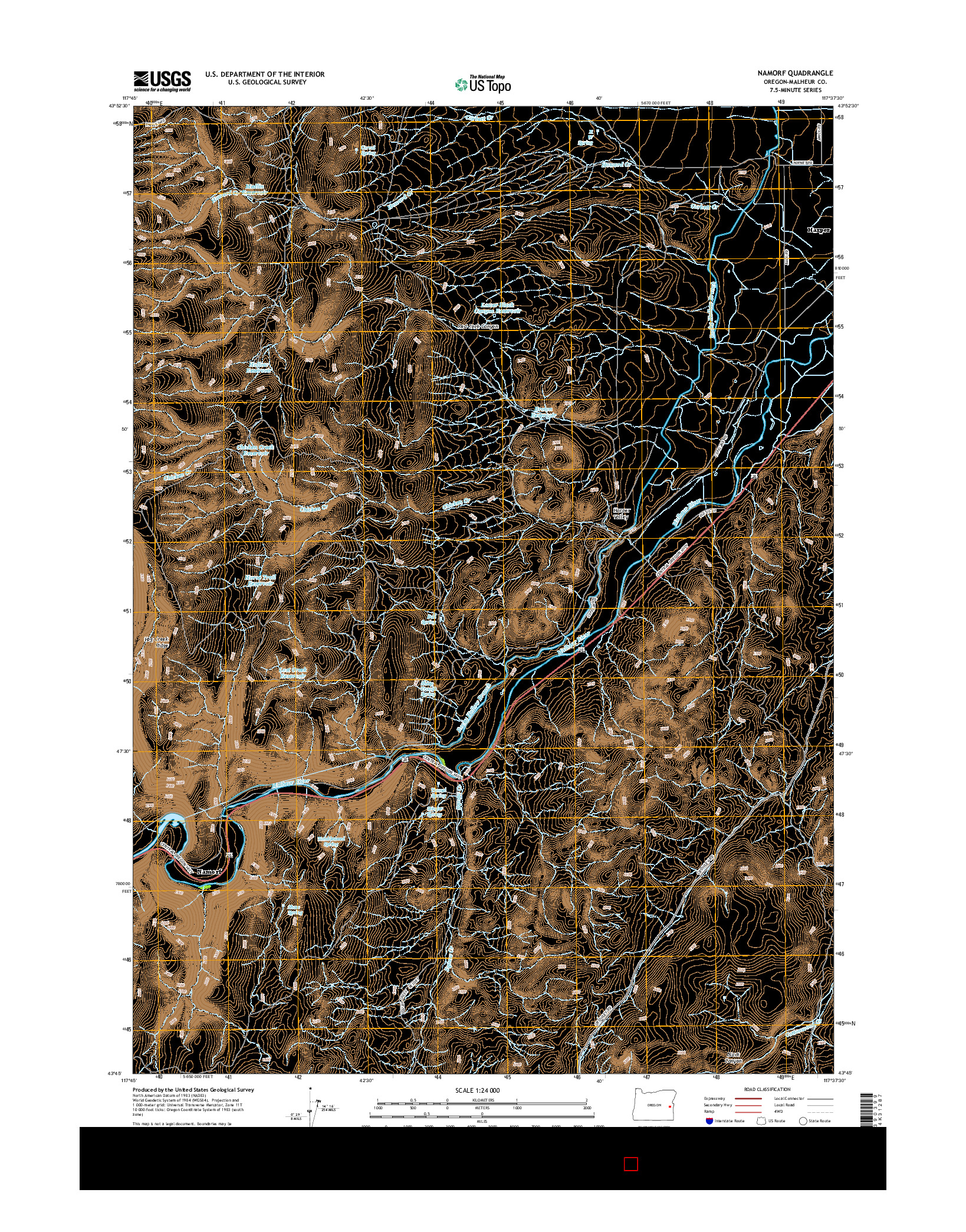 USGS US TOPO 7.5-MINUTE MAP FOR NAMORF, OR 2014