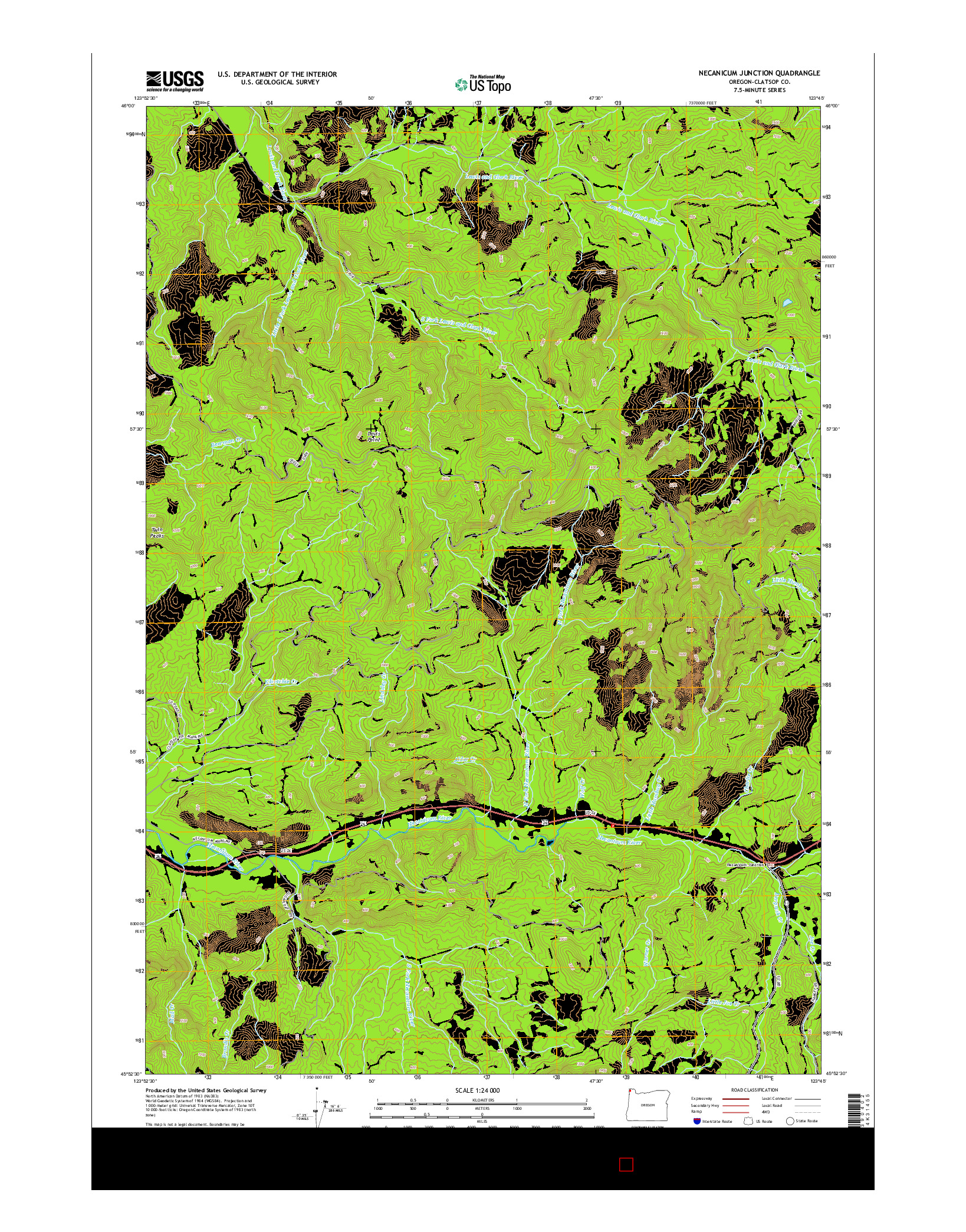 USGS US TOPO 7.5-MINUTE MAP FOR NECANICUM JUNCTION, OR 2014