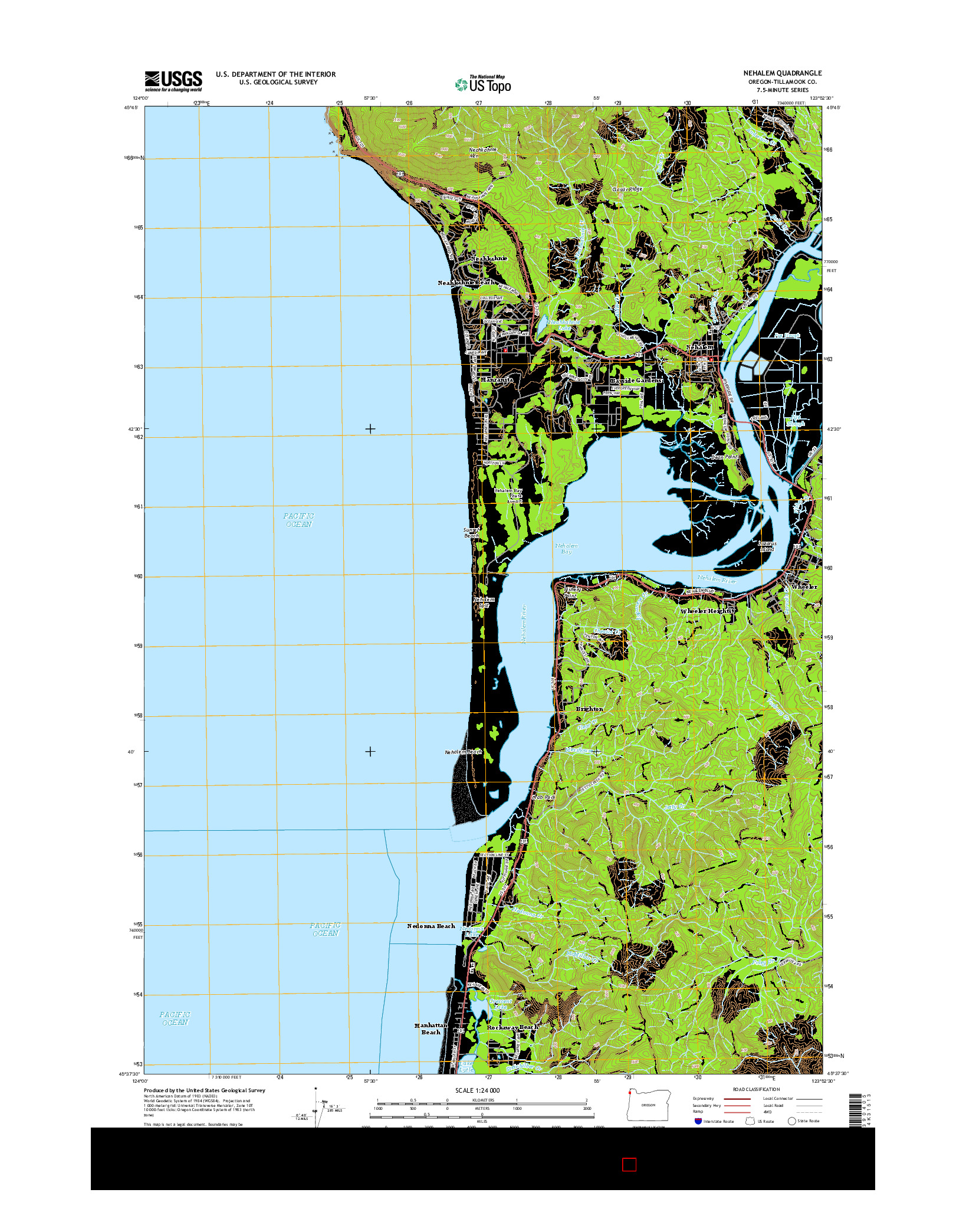 USGS US TOPO 7.5-MINUTE MAP FOR NEHALEM, OR 2014
