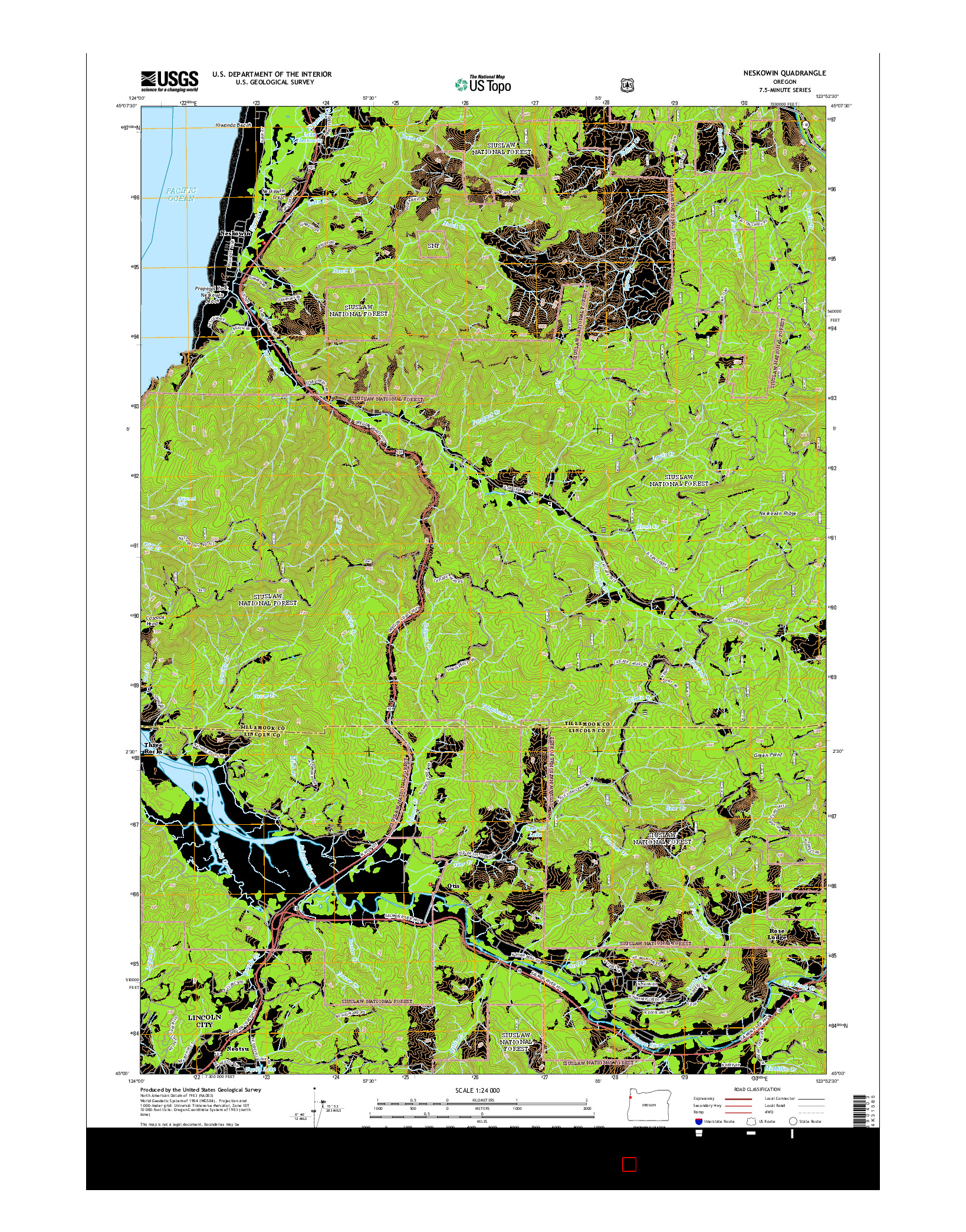 USGS US TOPO 7.5-MINUTE MAP FOR NESKOWIN, OR 2014