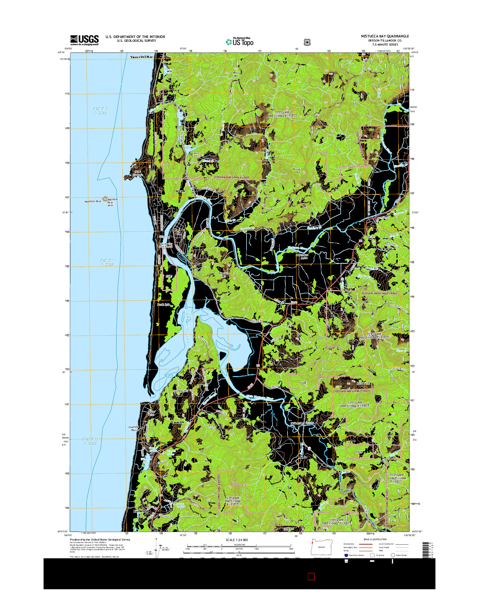 USGS US TOPO 7.5-MINUTE MAP FOR NESTUCCA BAY, OR 2014