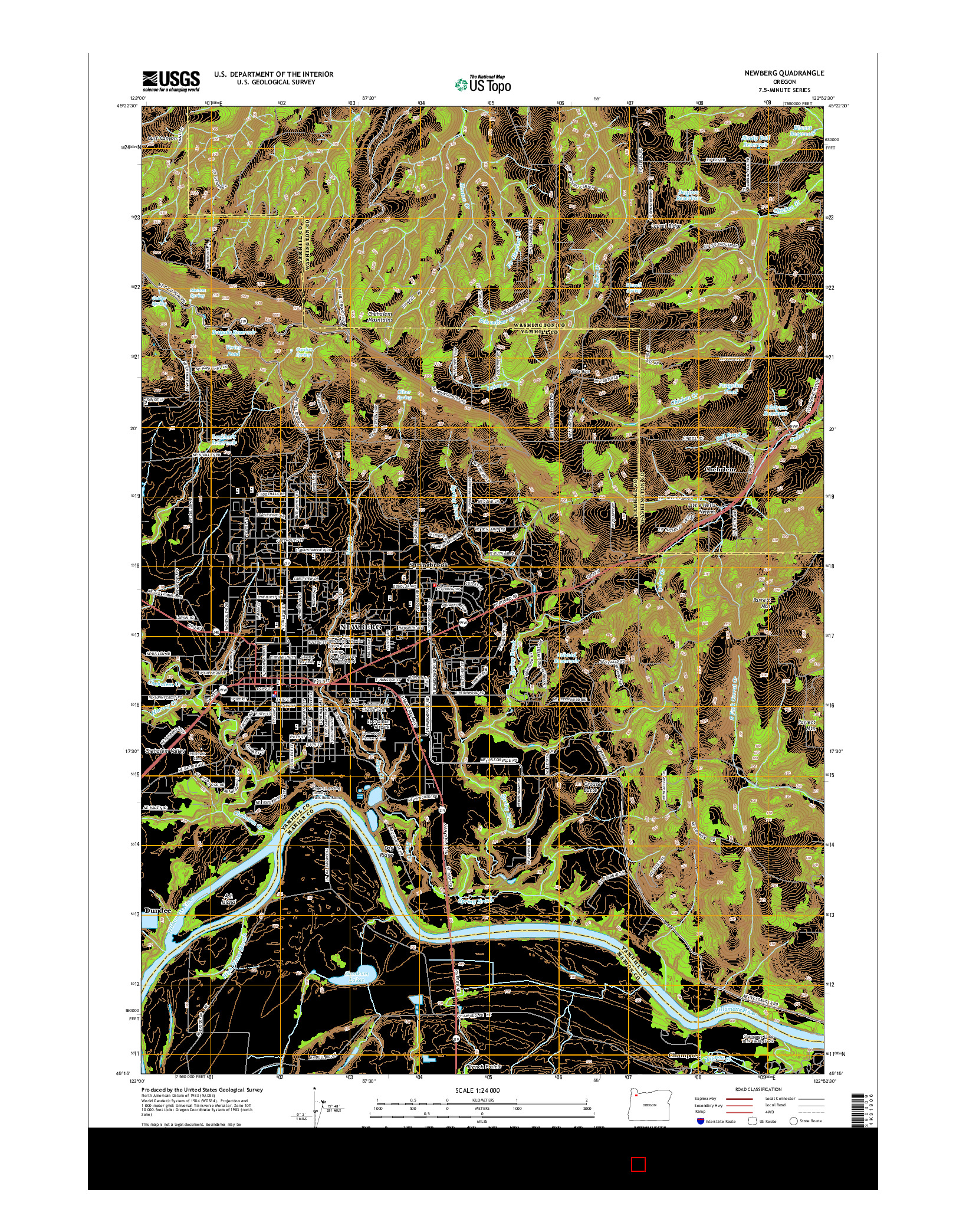 USGS US TOPO 7.5-MINUTE MAP FOR NEWBERG, OR 2014