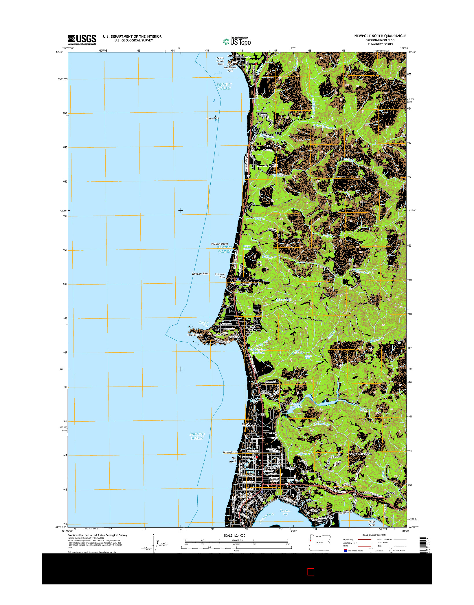 USGS US TOPO 7.5-MINUTE MAP FOR NEWPORT NORTH, OR 2014