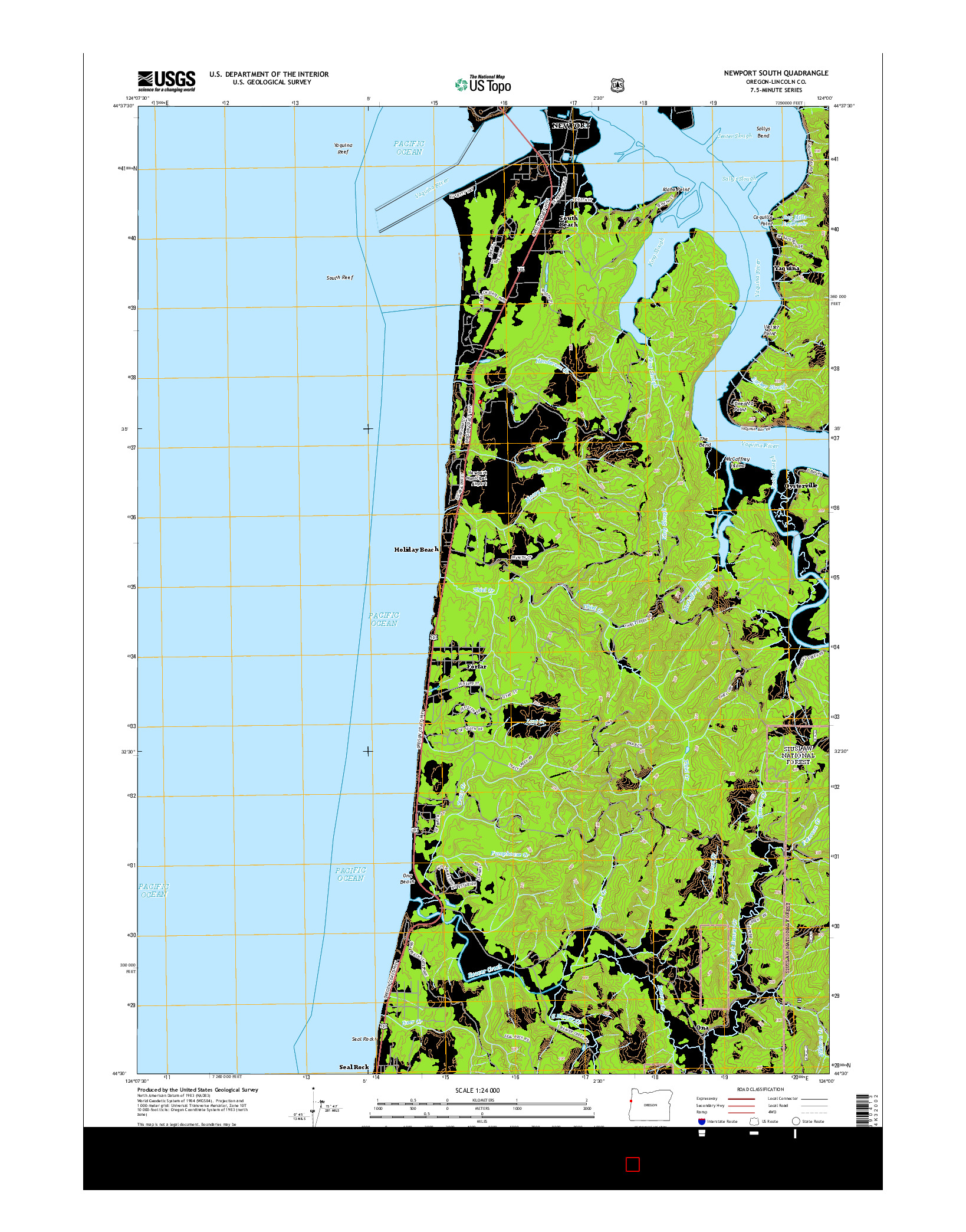 USGS US TOPO 7.5-MINUTE MAP FOR NEWPORT SOUTH, OR 2014