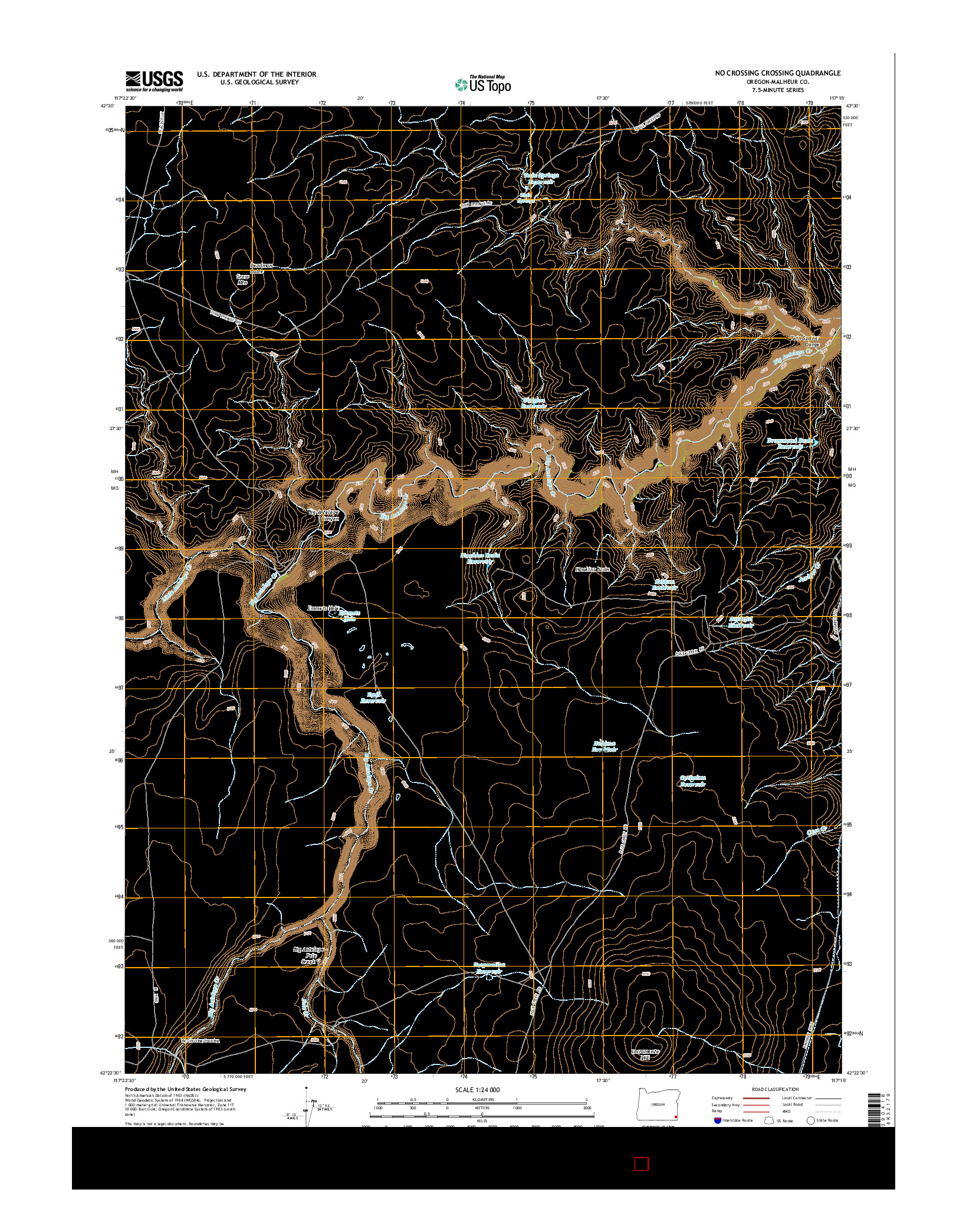 USGS US TOPO 7.5-MINUTE MAP FOR NO CROSSING CROSSING, OR 2014