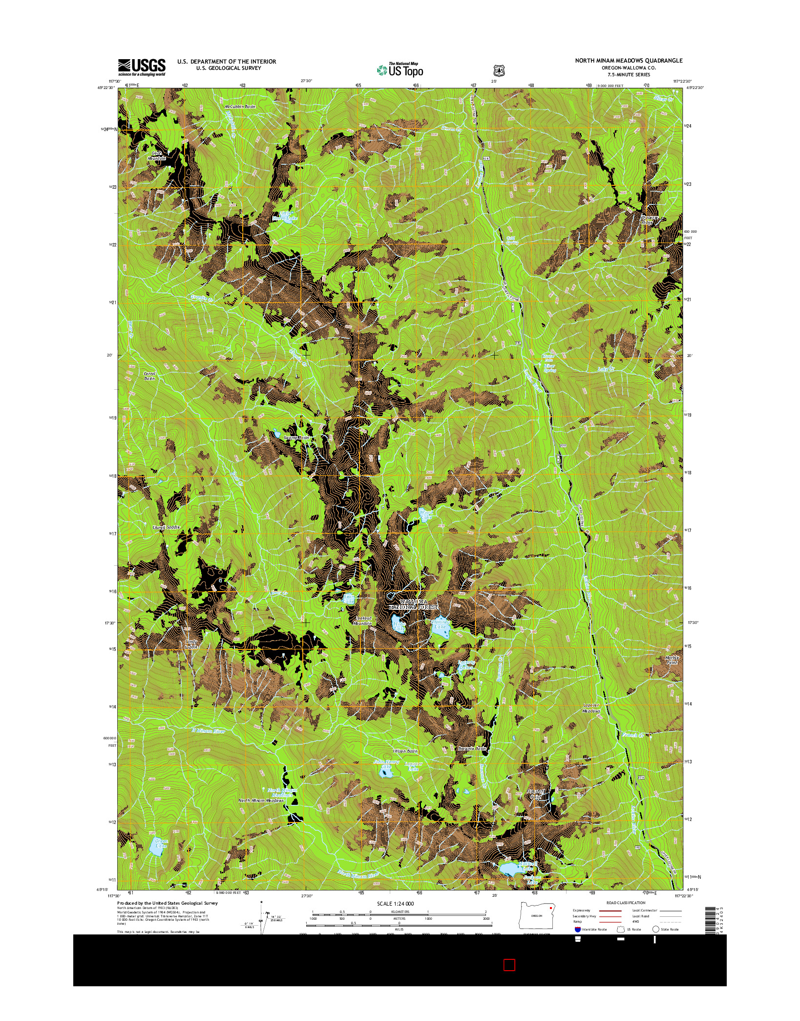 USGS US TOPO 7.5-MINUTE MAP FOR NORTH MINAM MEADOWS, OR 2014