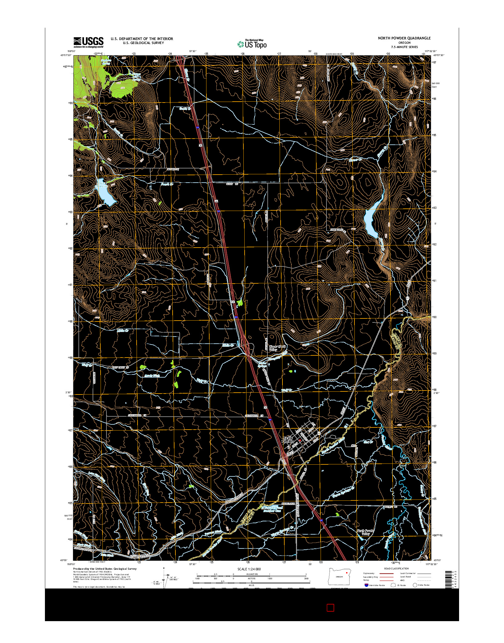 USGS US TOPO 7.5-MINUTE MAP FOR NORTH POWDER, OR 2014
