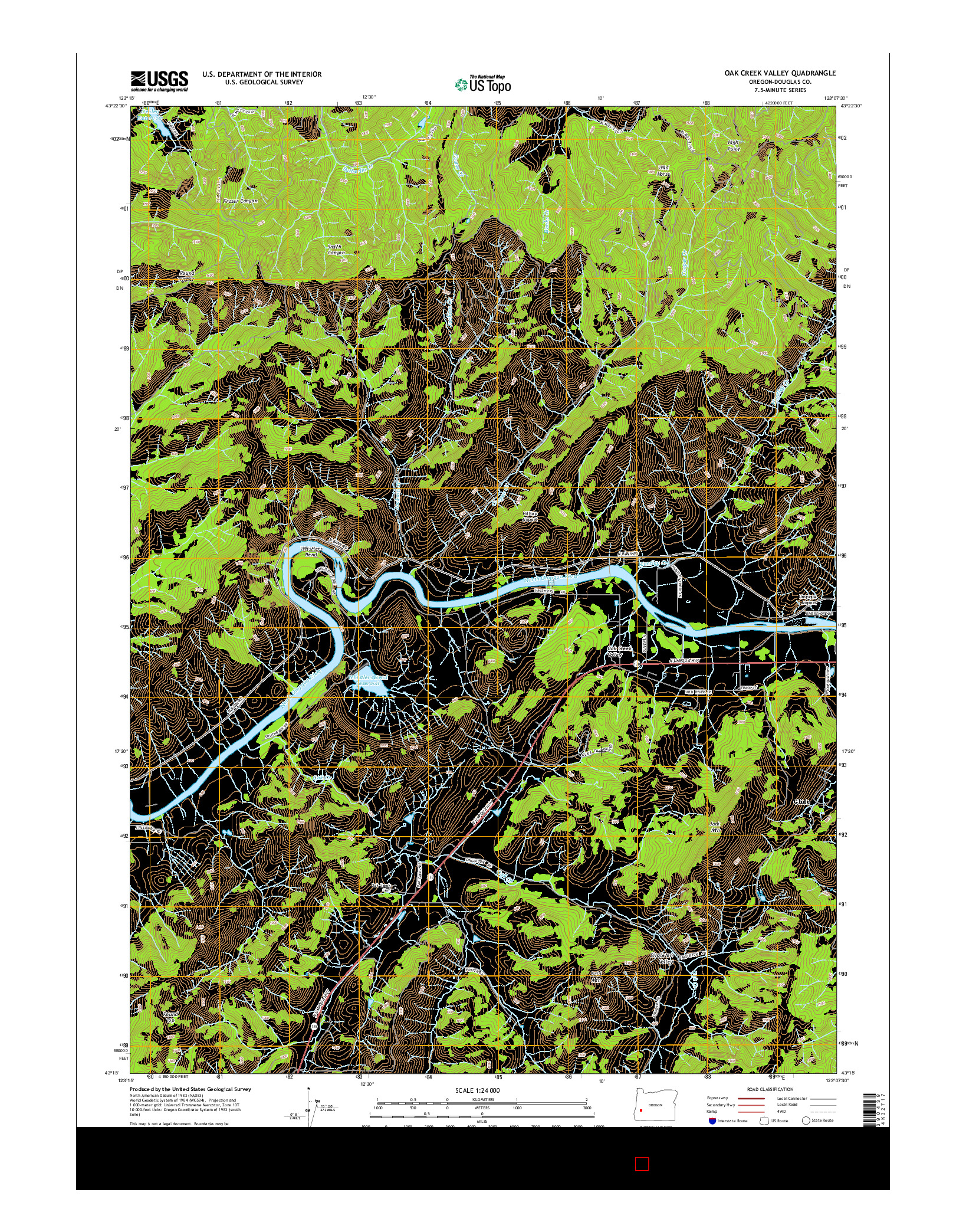 USGS US TOPO 7.5-MINUTE MAP FOR OAK CREEK VALLEY, OR 2014