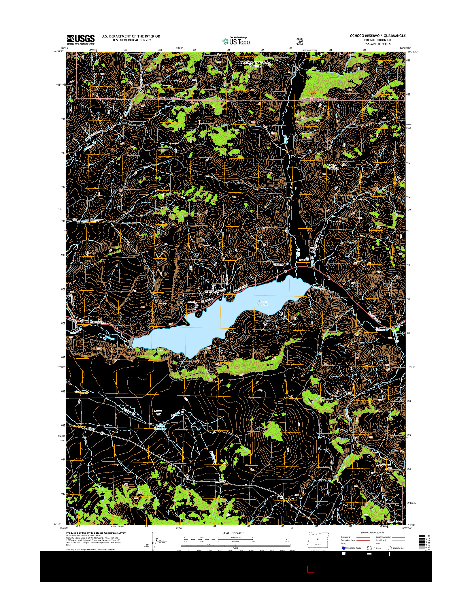 USGS US TOPO 7.5-MINUTE MAP FOR OCHOCO RESERVOIR, OR 2014