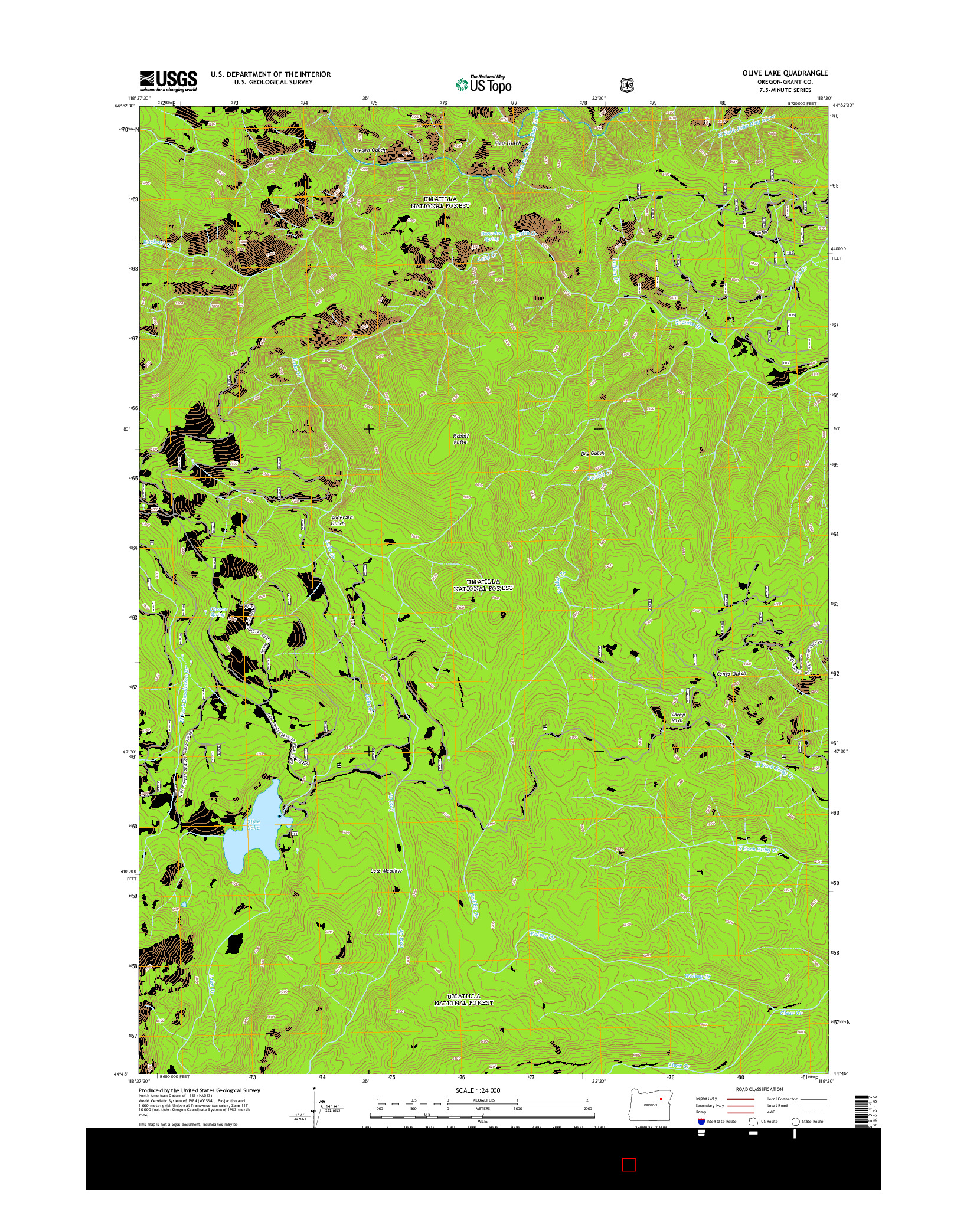 USGS US TOPO 7.5-MINUTE MAP FOR OLIVE LAKE, OR 2014
