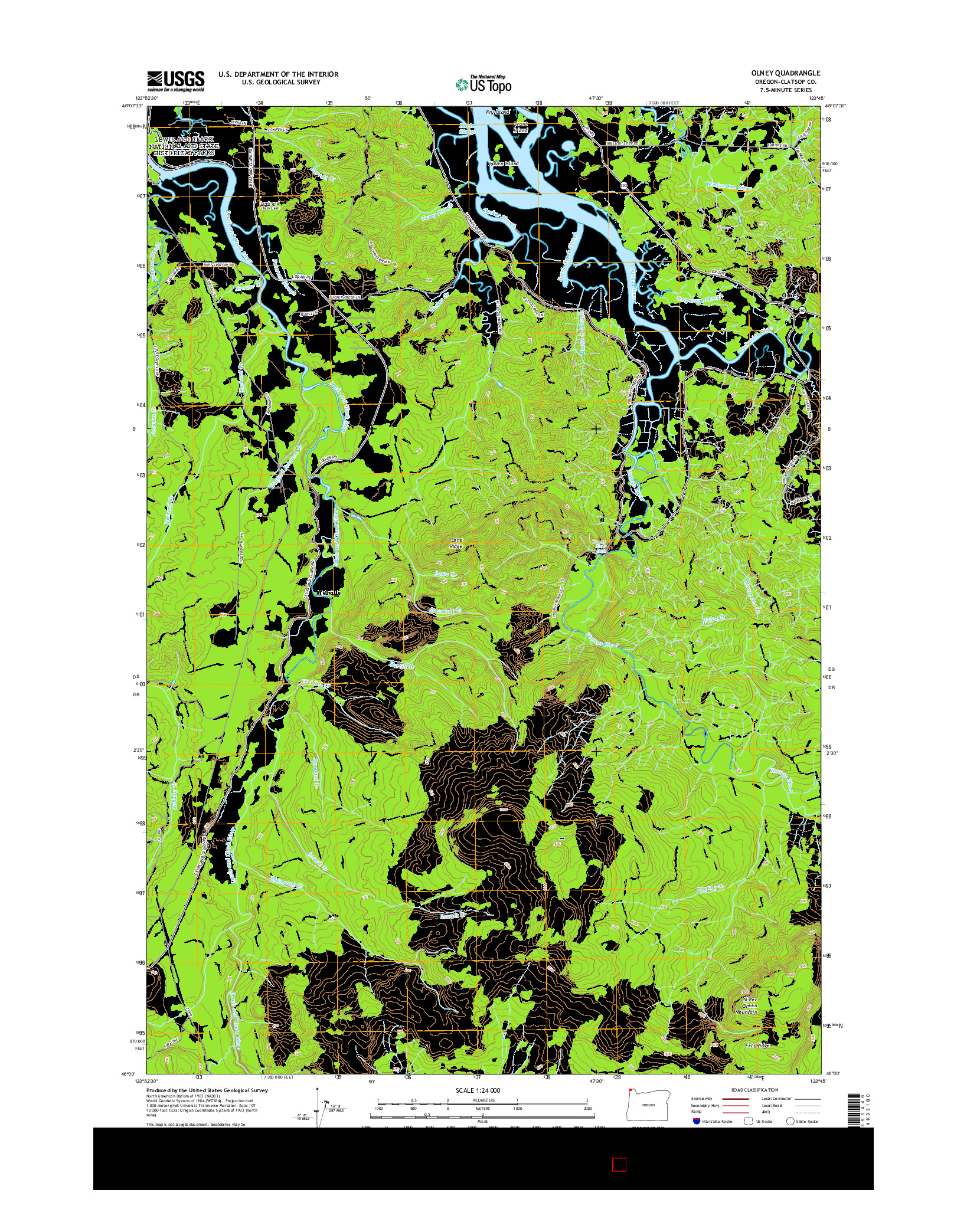 USGS US TOPO 7.5-MINUTE MAP FOR OLNEY, OR 2014