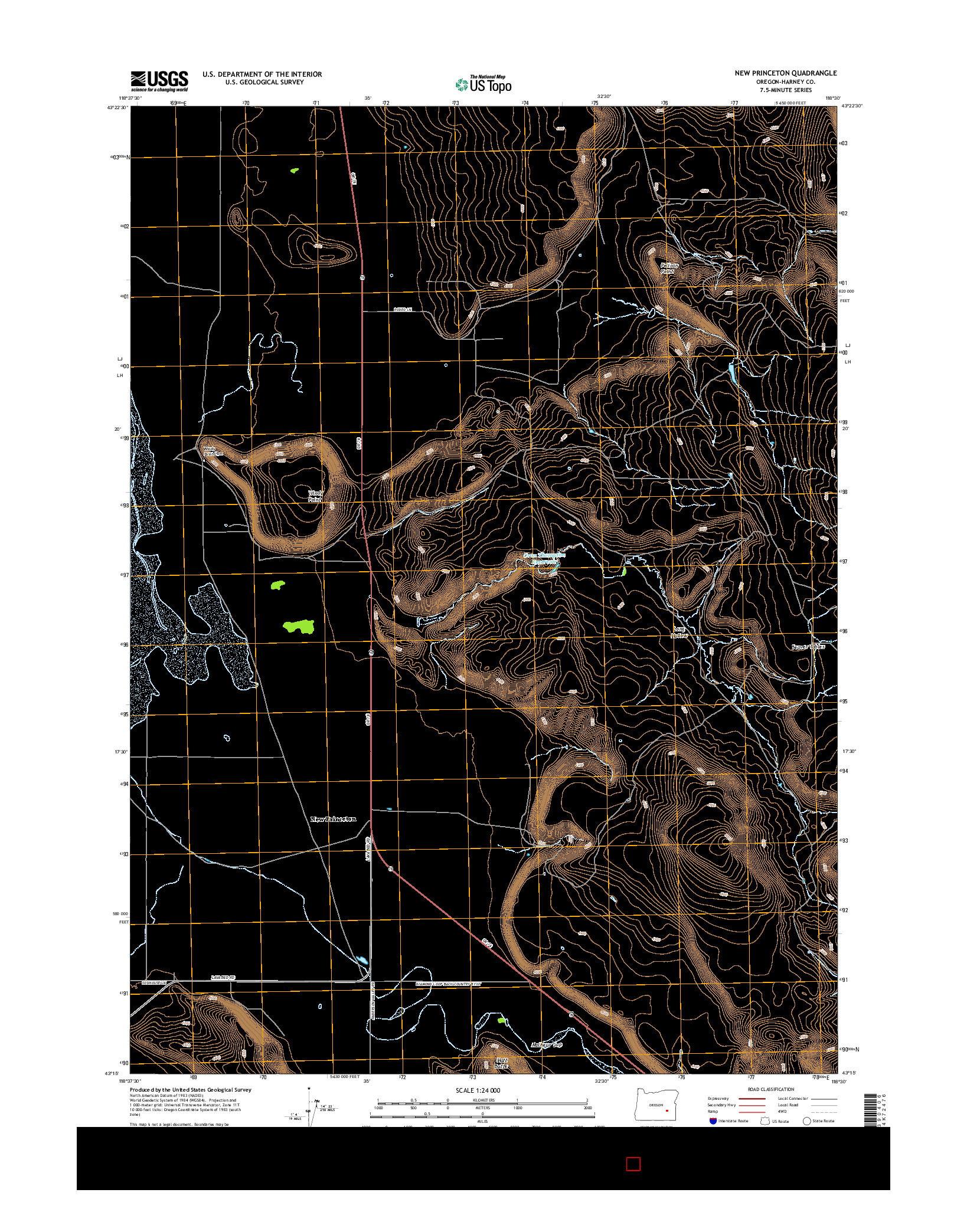 USGS US TOPO 7.5-MINUTE MAP FOR NEW PRINCETON, OR 2014