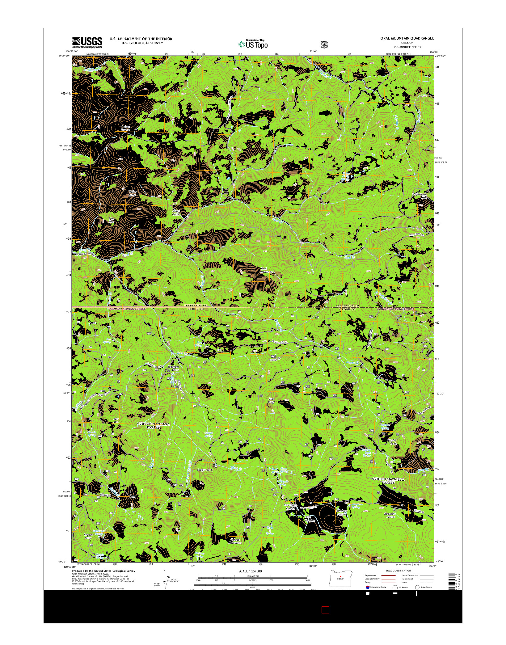 USGS US TOPO 7.5-MINUTE MAP FOR OPAL MOUNTAIN, OR 2014