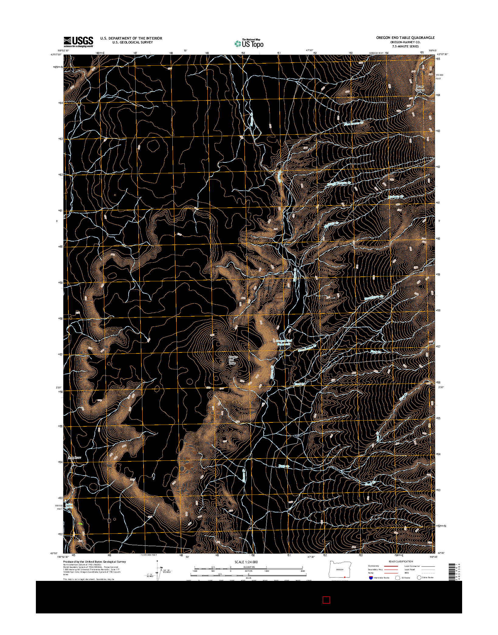 USGS US TOPO 7.5-MINUTE MAP FOR OREGON END TABLE, OR 2014