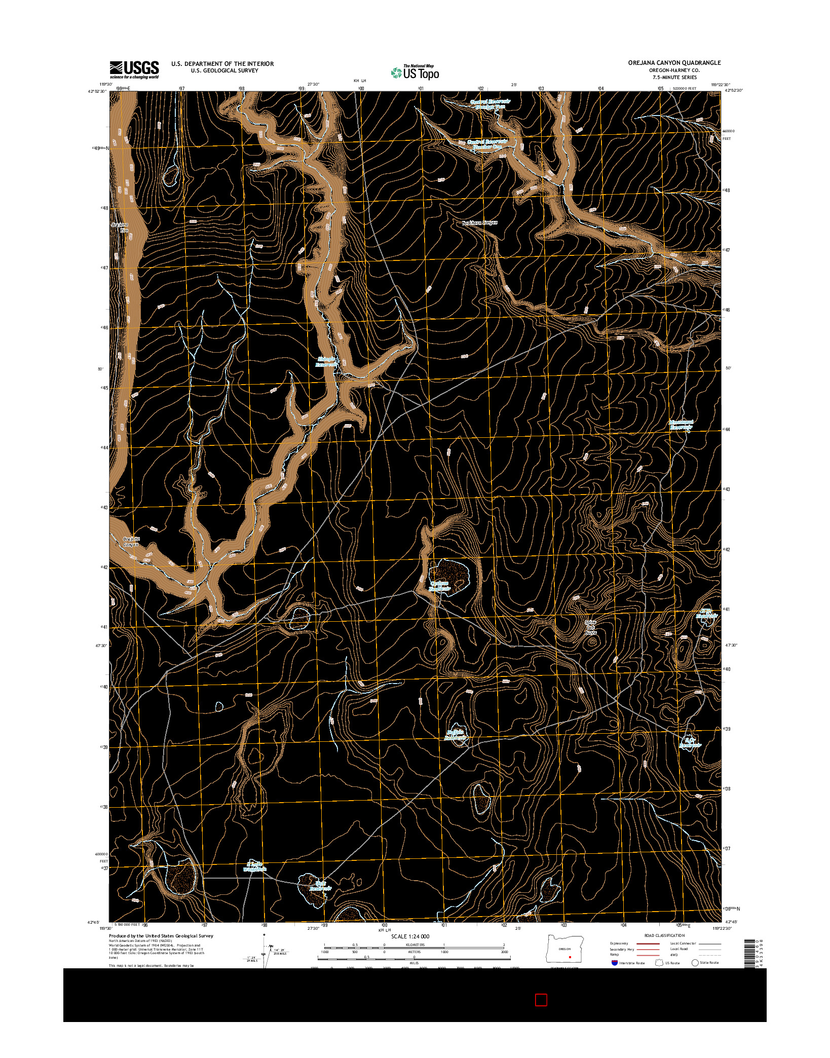 USGS US TOPO 7.5-MINUTE MAP FOR OREJANA CANYON, OR 2014