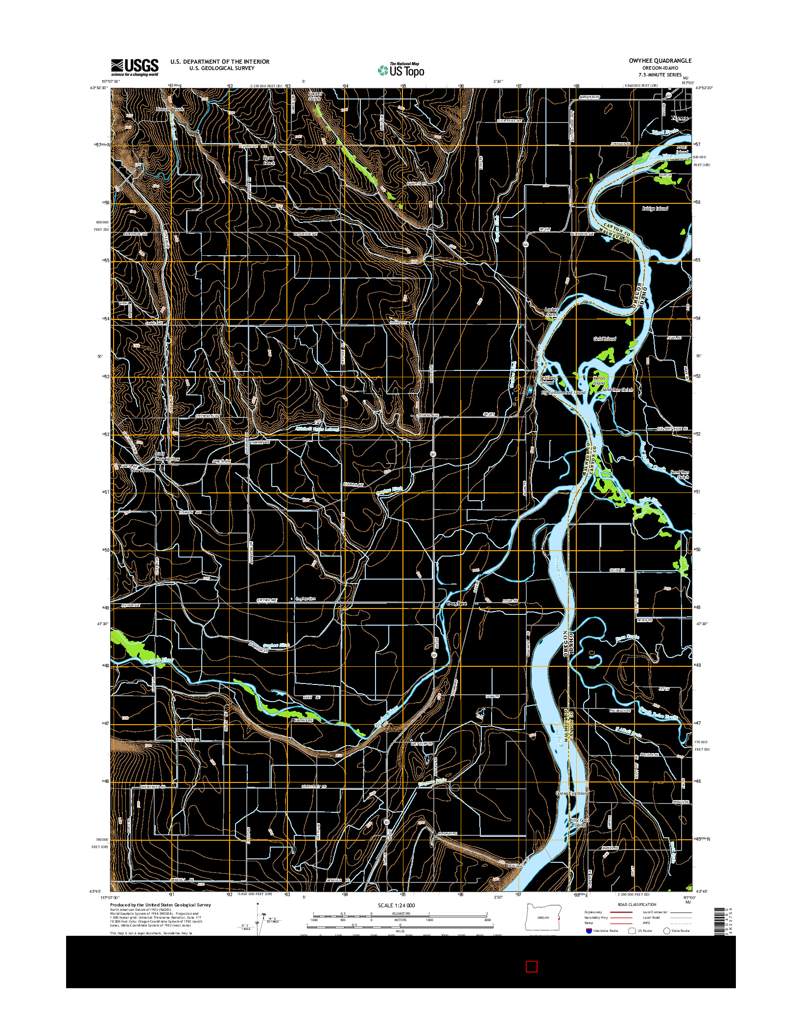 USGS US TOPO 7.5-MINUTE MAP FOR OWYHEE, OR-ID 2014