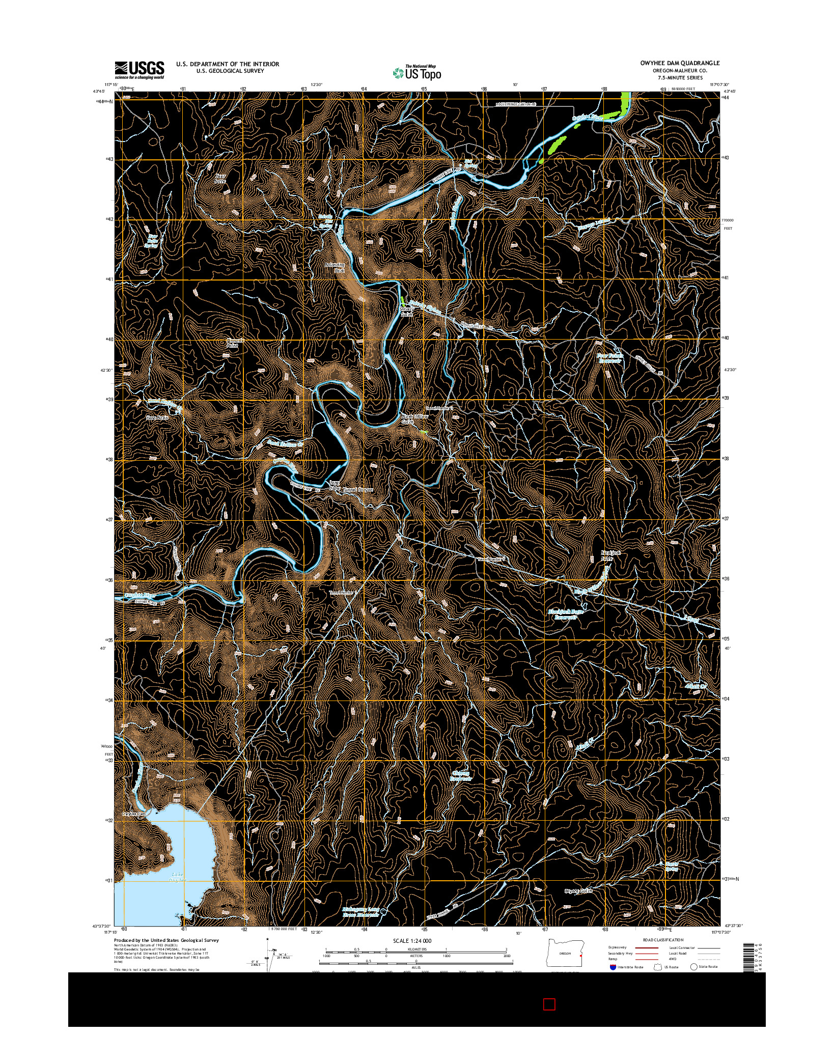 USGS US TOPO 7.5-MINUTE MAP FOR OWYHEE DAM, OR 2014
