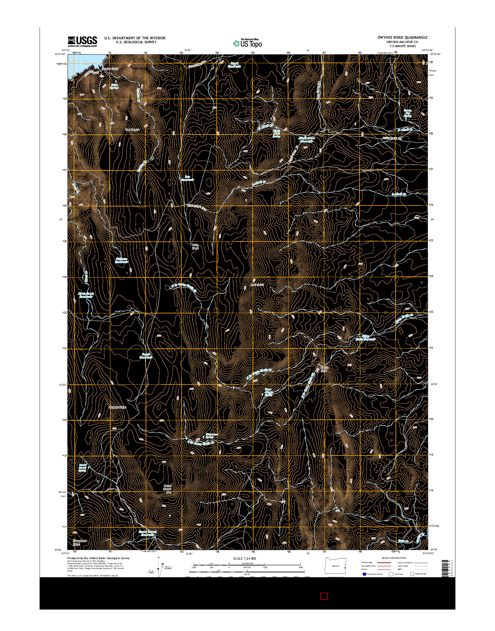 USGS US TOPO 7.5-MINUTE MAP FOR OWYHEE RIDGE, OR 2014