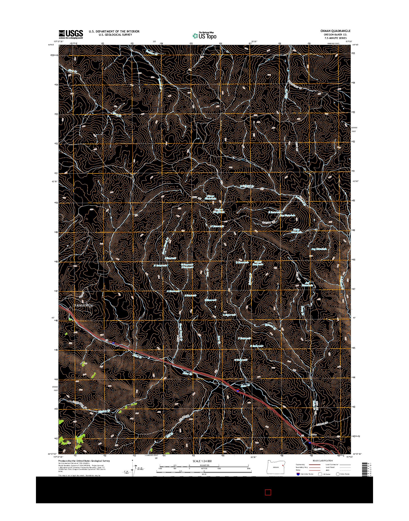 USGS US TOPO 7.5-MINUTE MAP FOR OXMAN, OR 2014