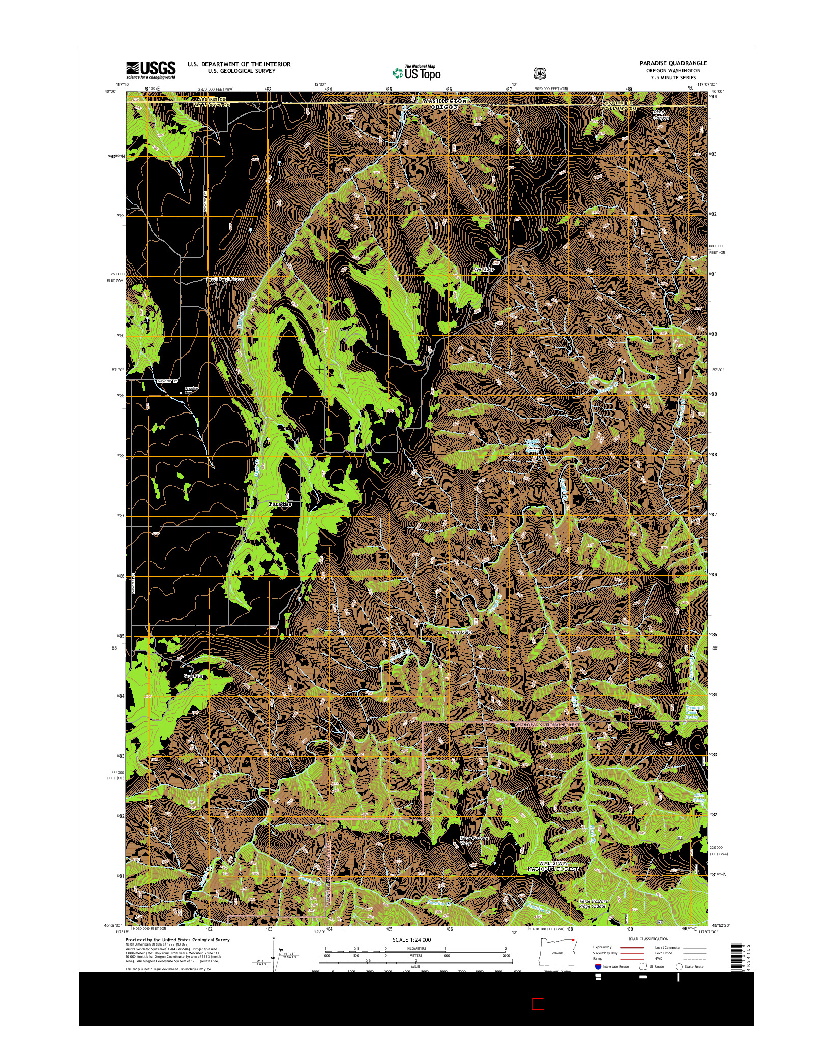 USGS US TOPO 7.5-MINUTE MAP FOR PARADISE, OR-WA 2014
