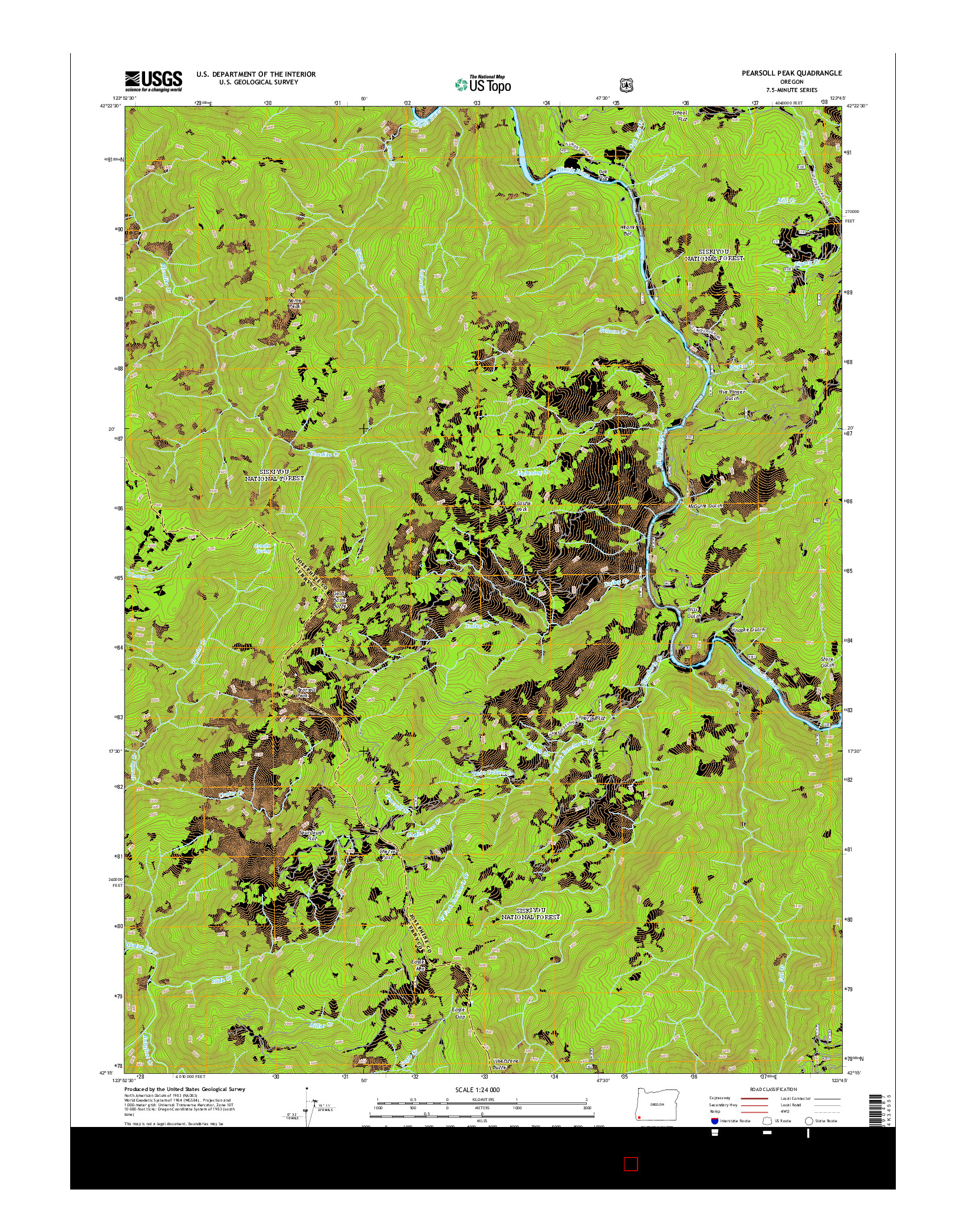 USGS US TOPO 7.5-MINUTE MAP FOR PEARSOLL PEAK, OR 2014