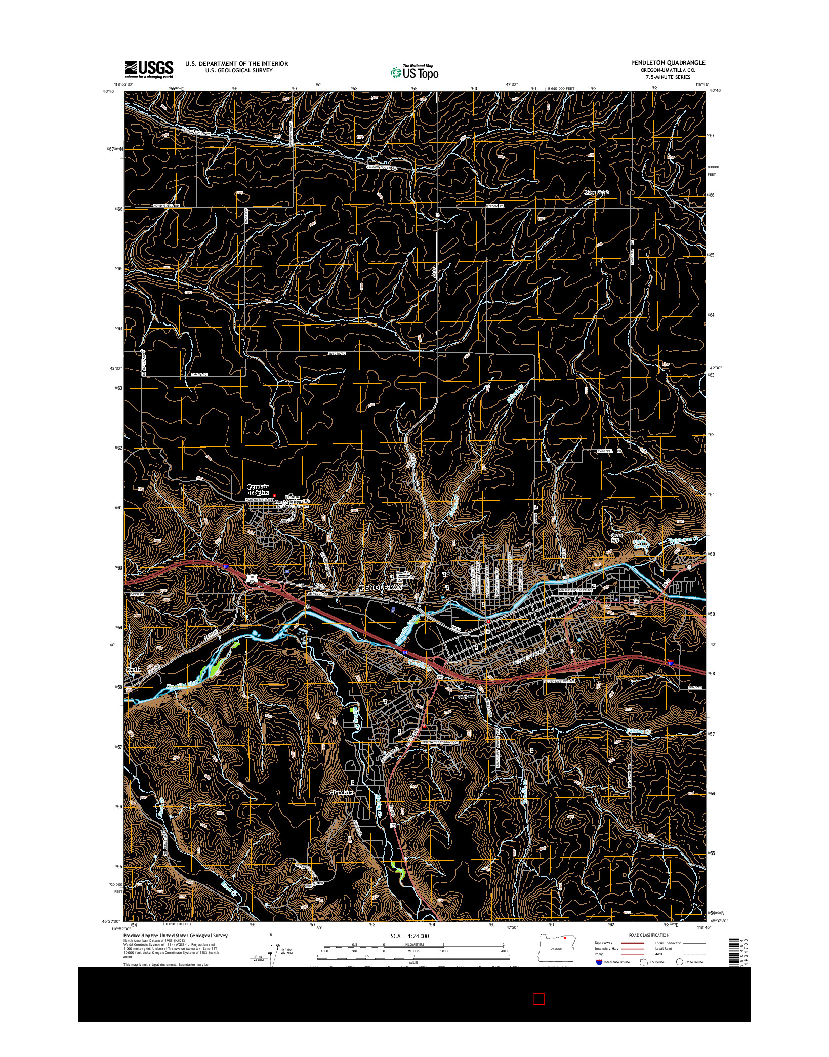 USGS US TOPO 7.5-MINUTE MAP FOR PENDLETON, OR 2014