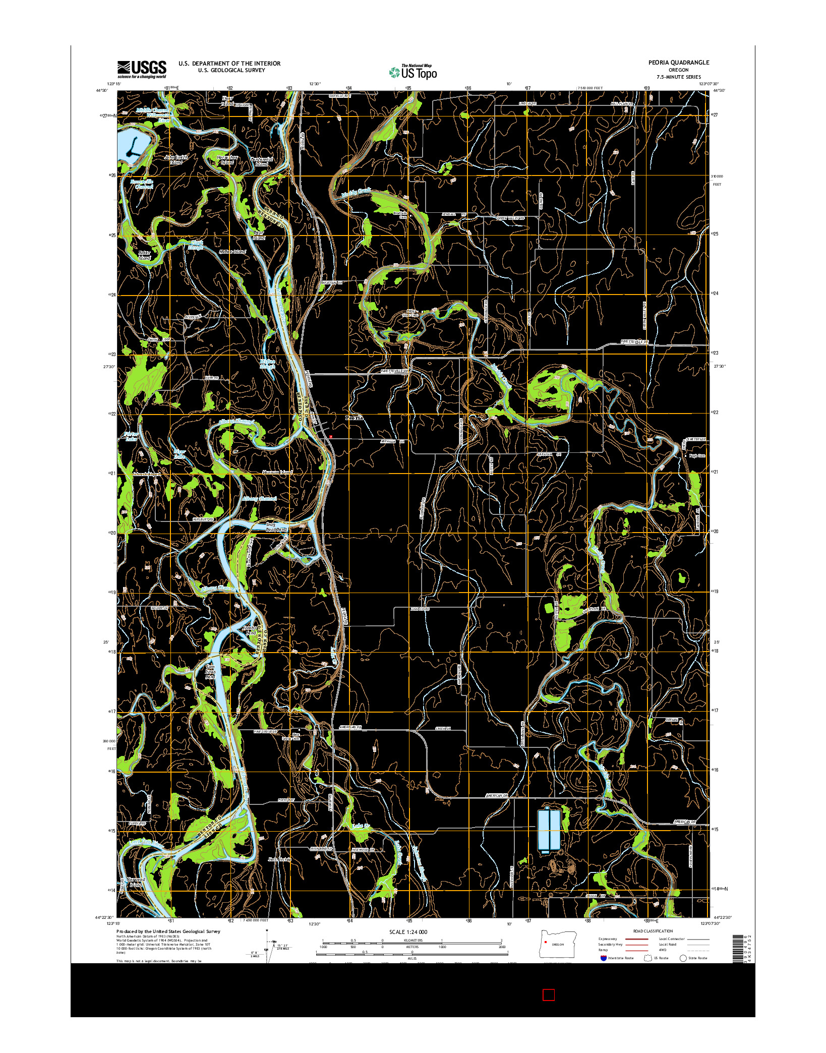 USGS US TOPO 7.5-MINUTE MAP FOR PEORIA, OR 2014
