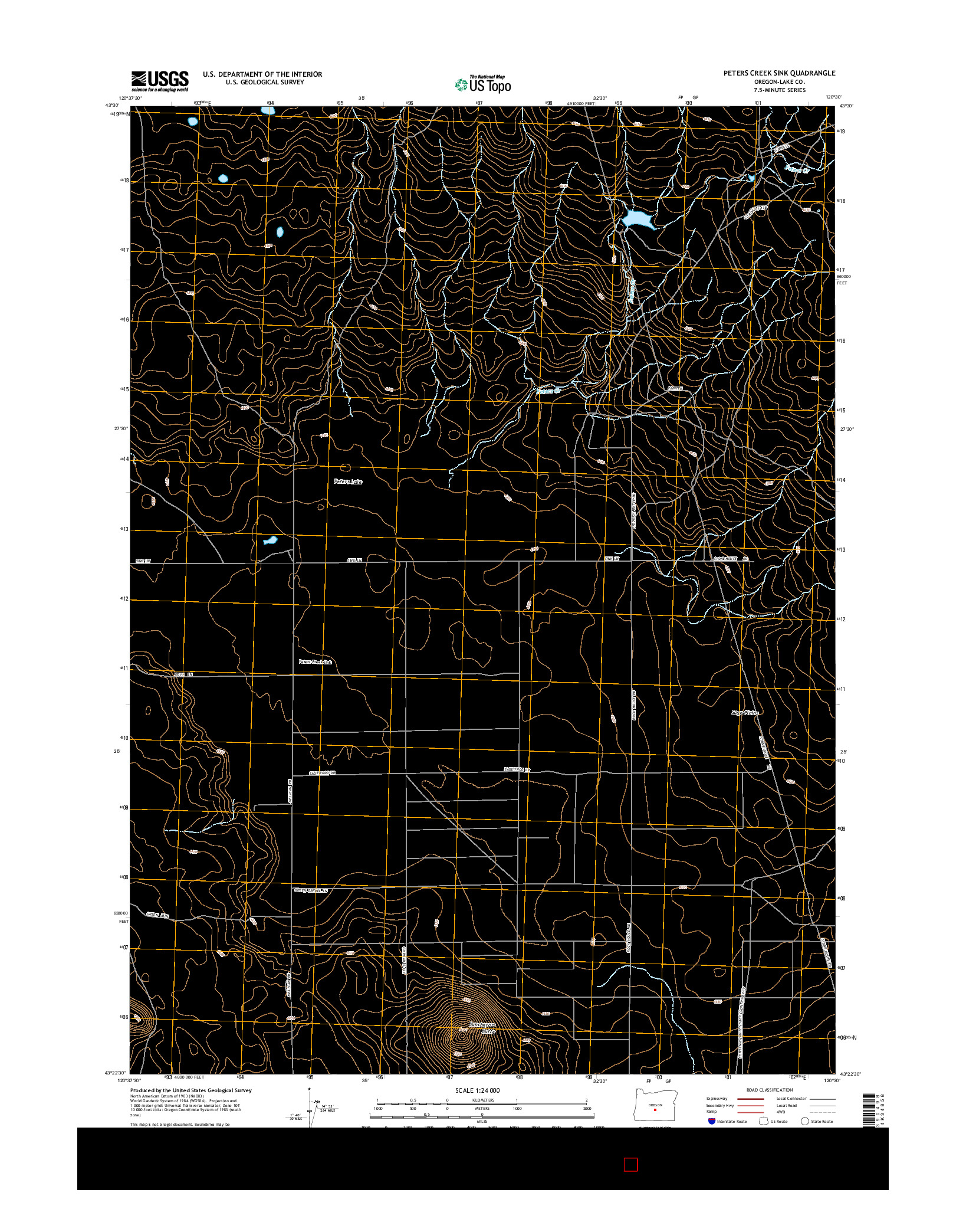 USGS US TOPO 7.5-MINUTE MAP FOR PETERS CREEK SINK, OR 2014