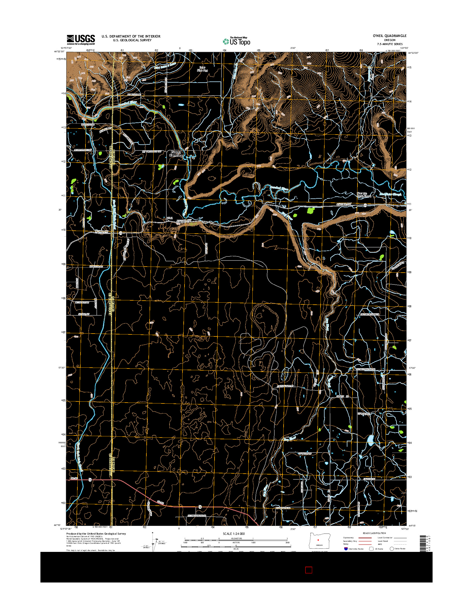 USGS US TOPO 7.5-MINUTE MAP FOR O'NEIL, OR 2014