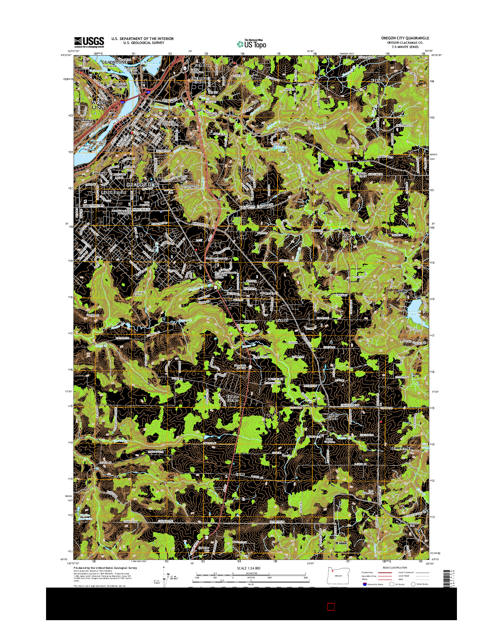 USGS US TOPO 7.5-MINUTE MAP FOR OREGON CITY, OR 2014