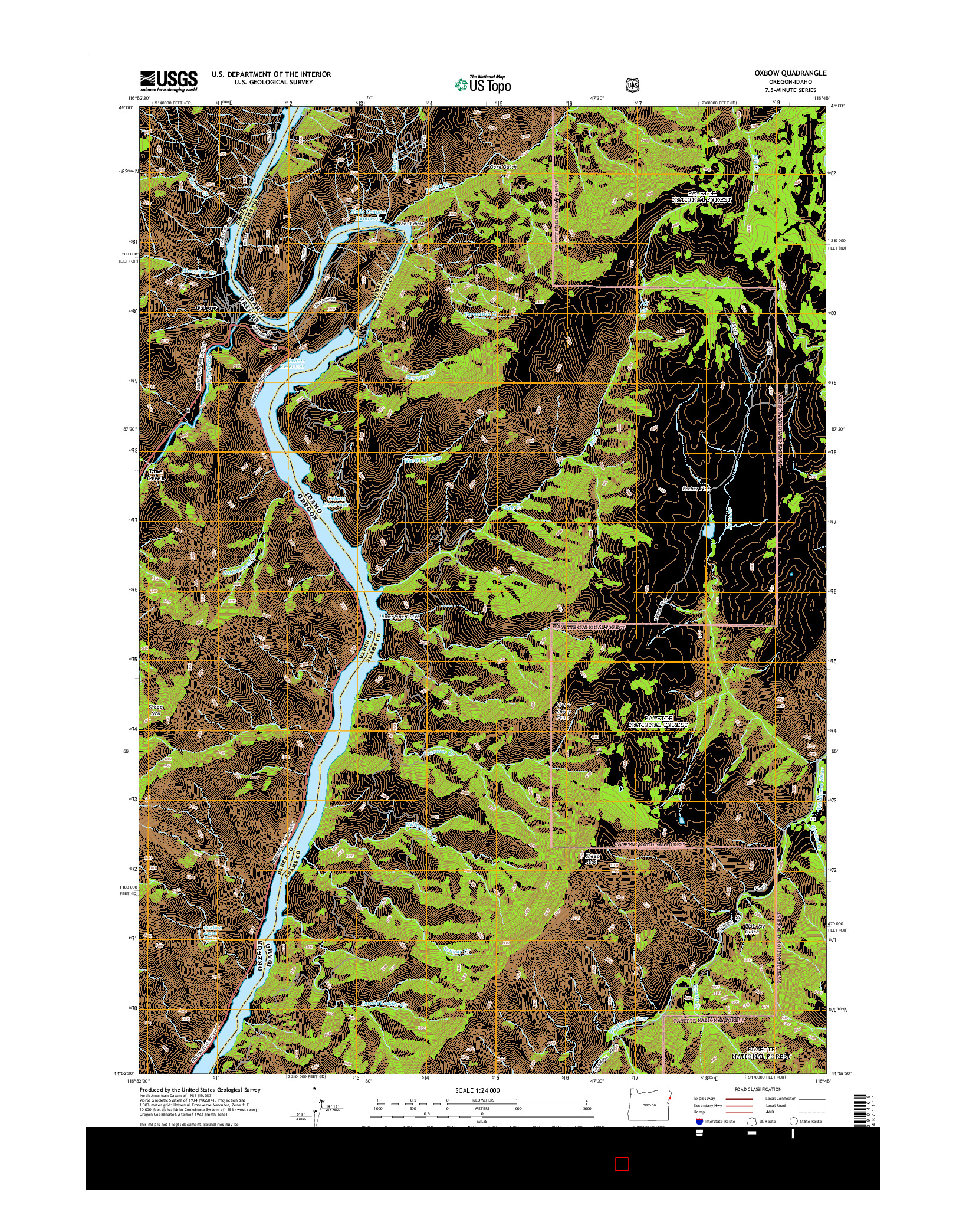 USGS US TOPO 7.5-MINUTE MAP FOR OXBOW, OR-ID 2014