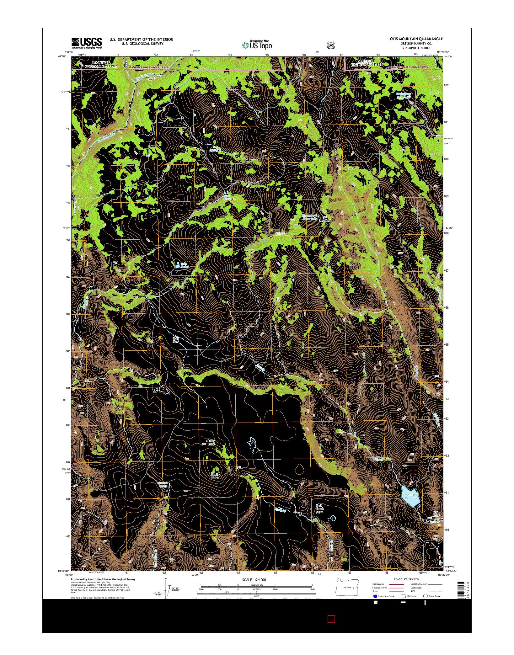 USGS US TOPO 7.5-MINUTE MAP FOR OTIS MOUNTAIN, OR 2014