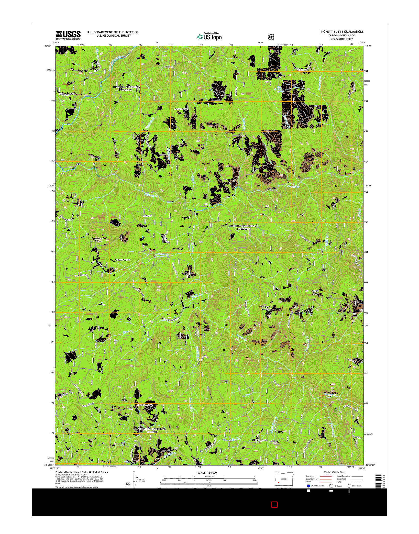 USGS US TOPO 7.5-MINUTE MAP FOR PICKETT BUTTE, OR 2014
