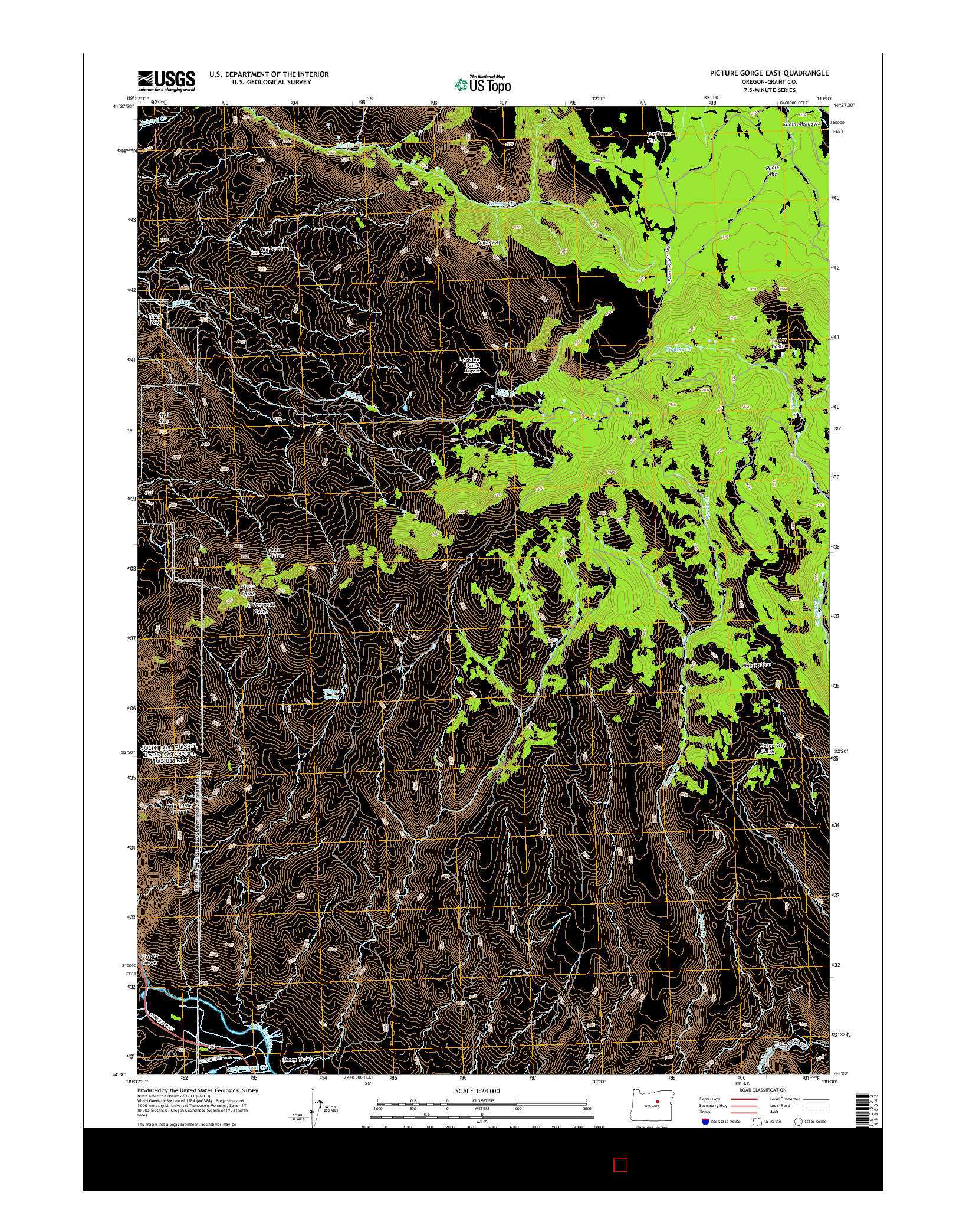 USGS US TOPO 7.5-MINUTE MAP FOR PICTURE GORGE EAST, OR 2014