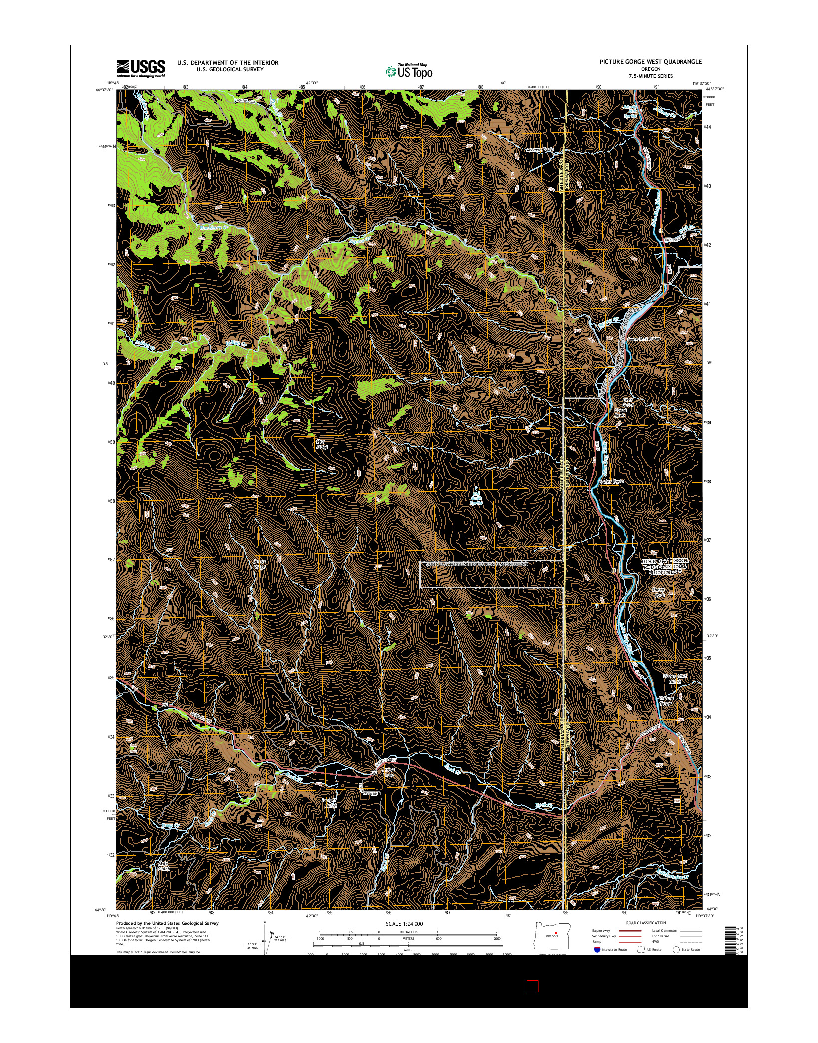 USGS US TOPO 7.5-MINUTE MAP FOR PICTURE GORGE WEST, OR 2014