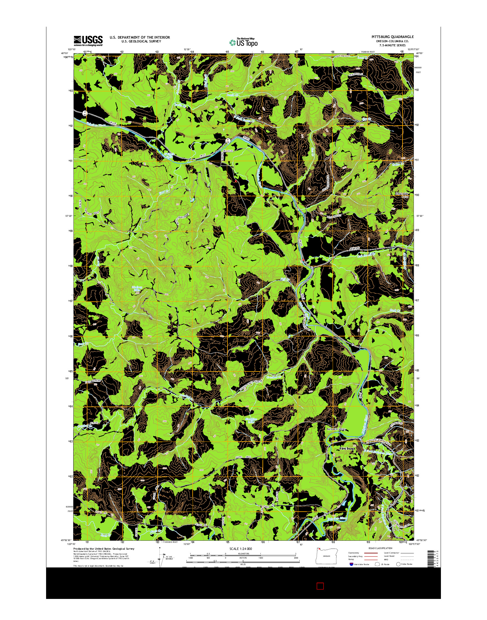 USGS US TOPO 7.5-MINUTE MAP FOR PITTSBURG, OR 2014